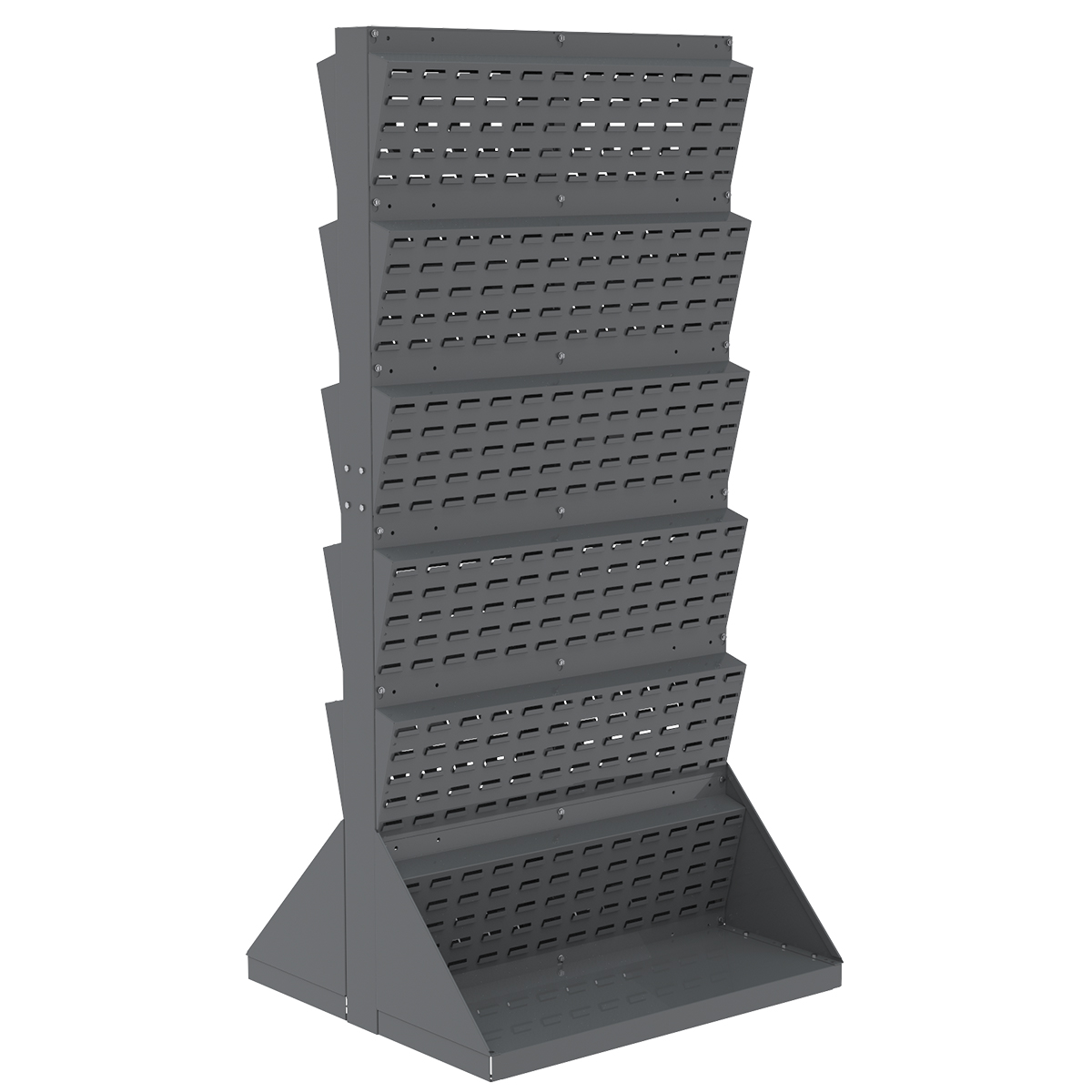 Item DISCONTINUED by Manufacturer.  Lean Panel Floor Rack, 2-Sided, Gray (30654).  This item sold in carton quantities of 1.