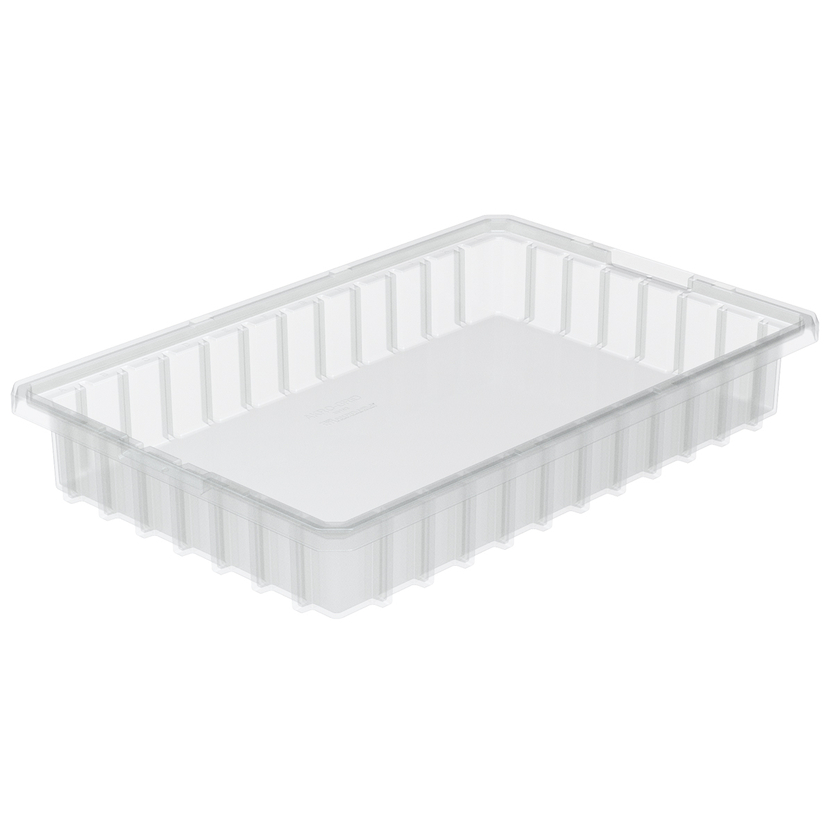 Akro-Grid Dividable Box 16-1/2 x 10-7/8 x 2-1/2, Clear.  This item sold in carton quantities of 12.