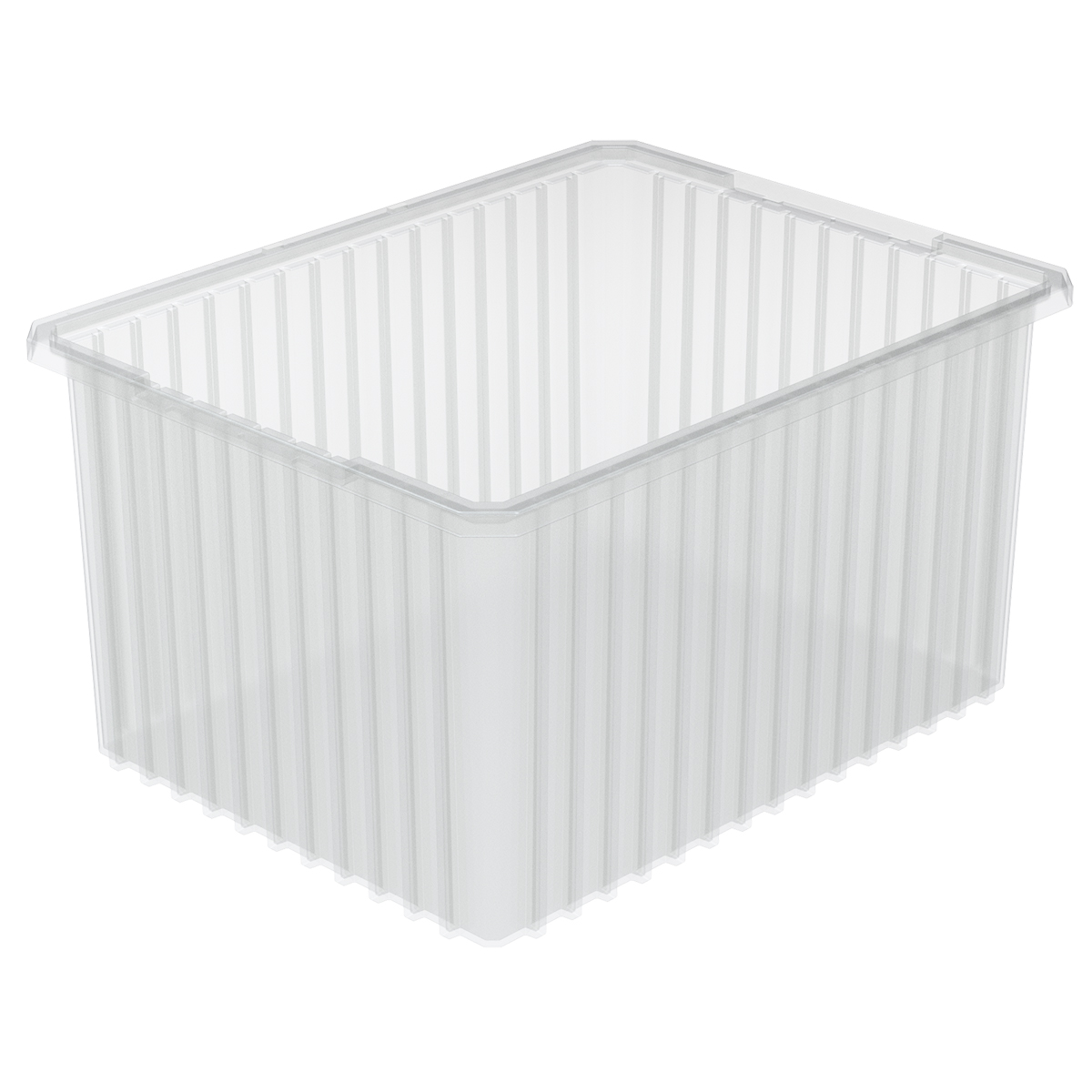 Akro-Grid Dividable Box 22-1/2 x 17-1/2 x 12, Clear.  This item sold in carton quantities of 3.