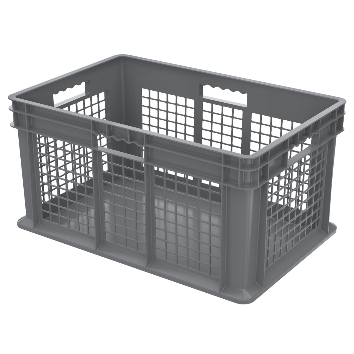 Straight Wall Container, Mesh/Solid 23-3/4 x 15-3/4 x 12-1/4, Gray (37672GREY).  This item sold in carton quantities of 3.