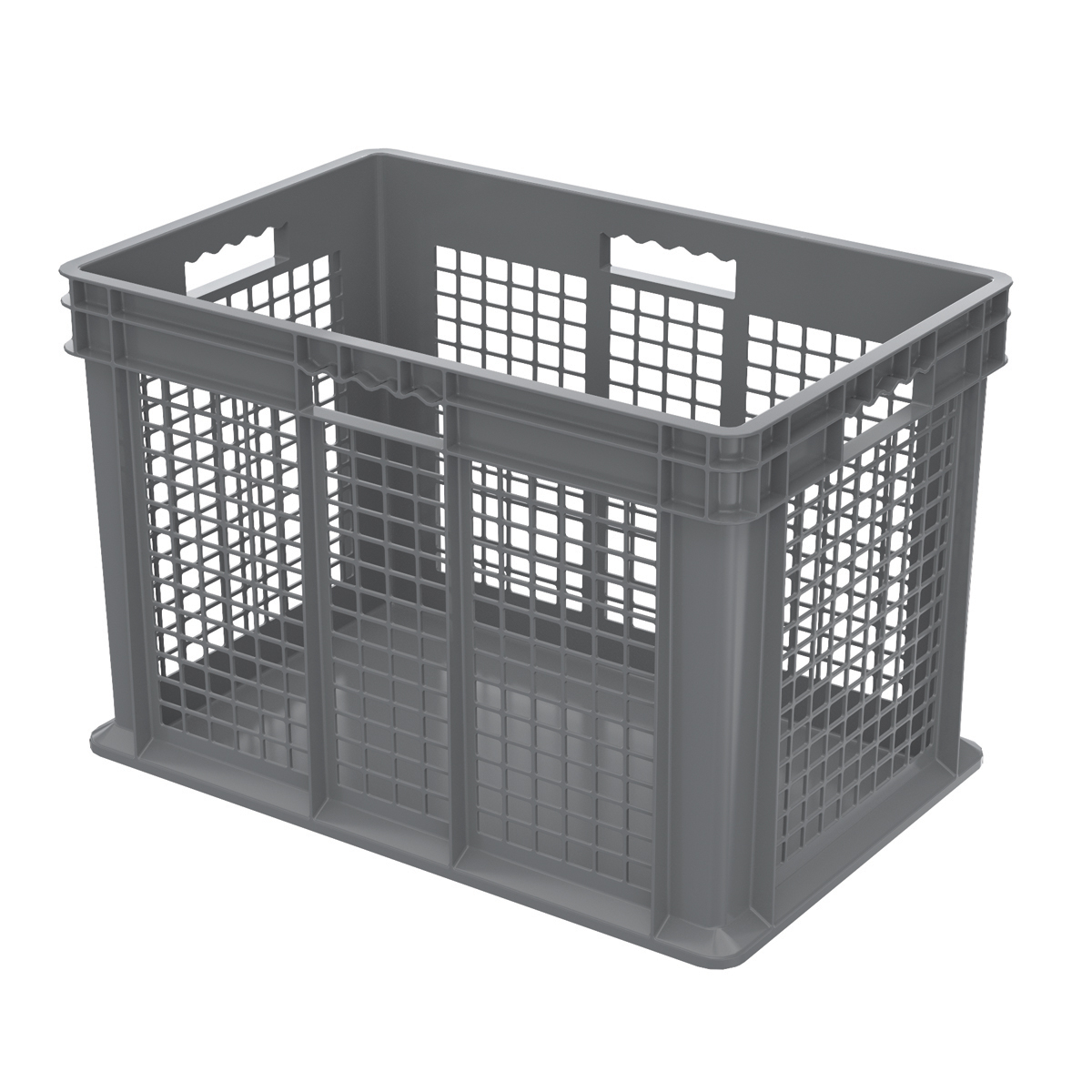 Straight Wall Container, Mesh/Solid 23-3/4 x 15-3/4 x 16-1/8, Gray (37676GREY).  This item sold in carton quantities of 2.