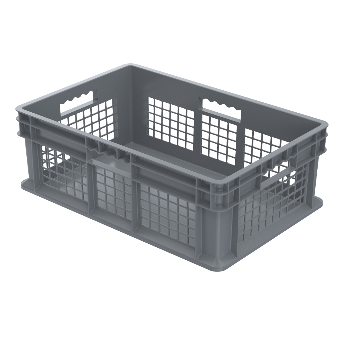 Straight Wall Container, Mesh/Solid 23-3/4 x 15-3/4 x 8-1/4, Gray (37678GREY).  This item sold in carton quantities of 4.