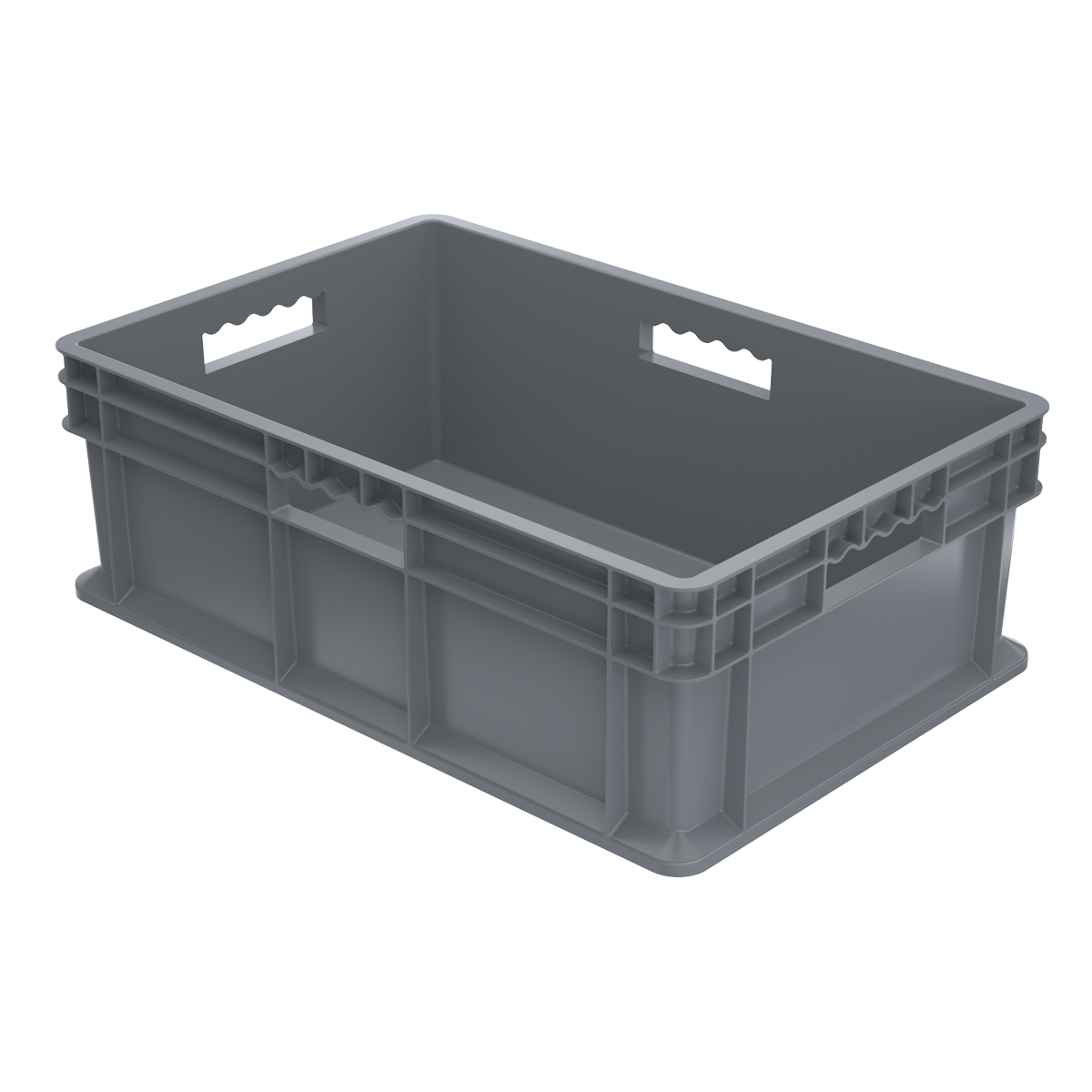 Straight Wall Container, Solid 23-3/4 x 15-3/4 x 8-1/4, Gray (37688GREY).  This item sold in carton quantities of 4.