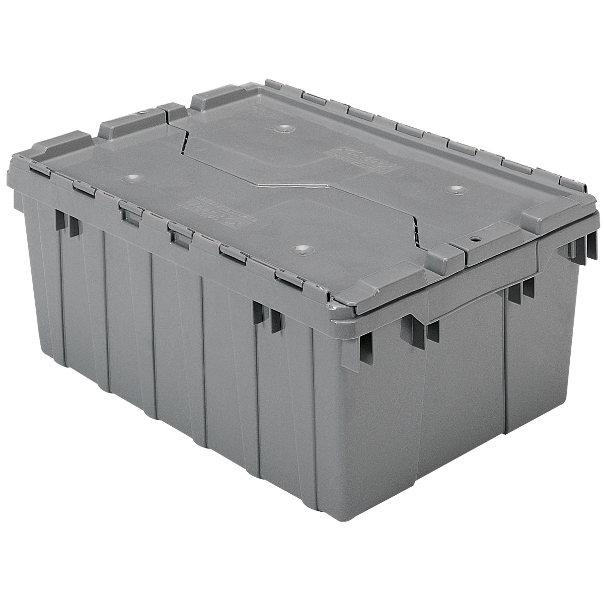 Attached Lid Container 8.5 gal, 21-1/2 x 15 x 9, Gray (39085).  This item sold in carton quantities of 6.