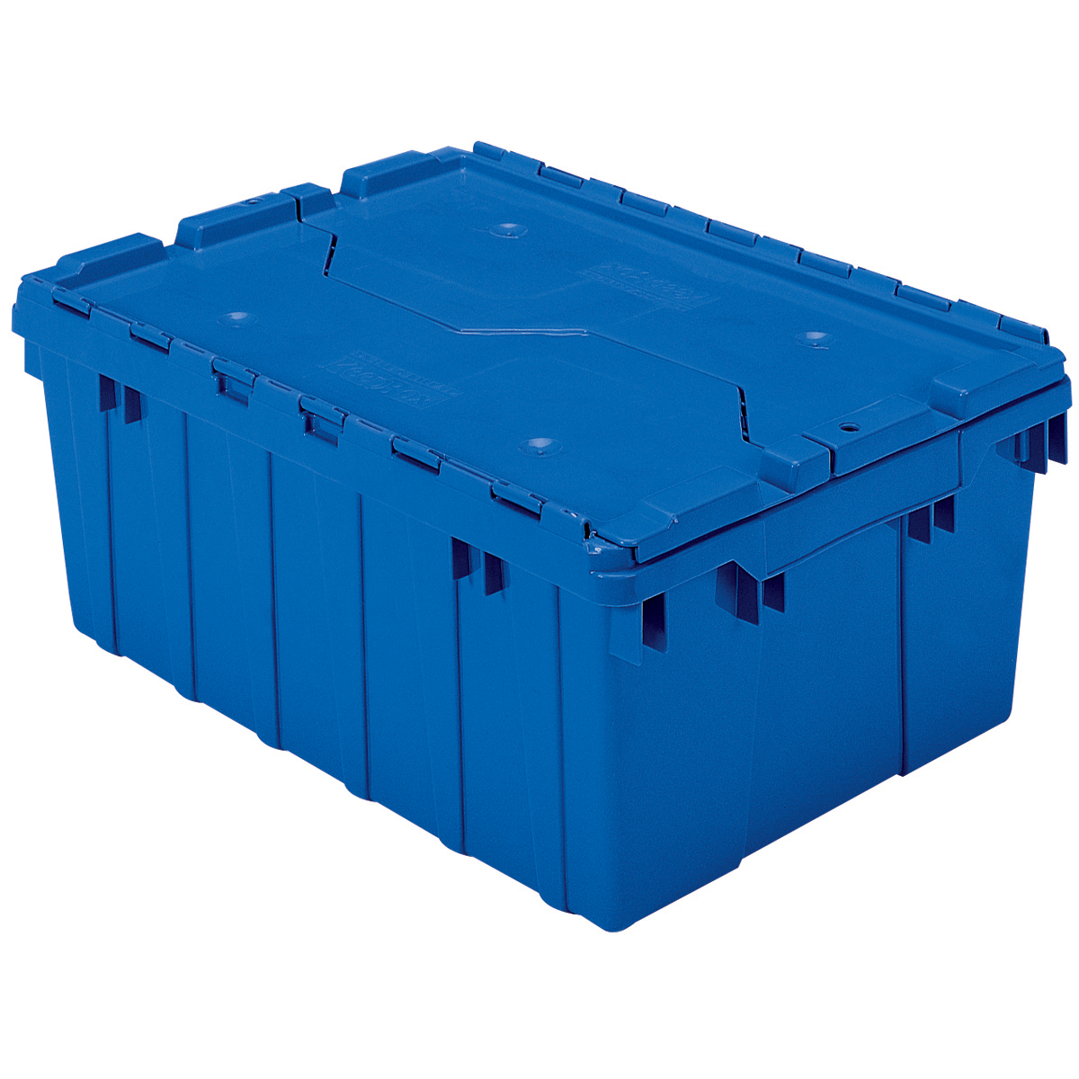 Attached Lid Container 8.5 gal, 21-1/2 x 15 x 9, Blue (39085BLUE).  This item sold in carton quantities of 6.