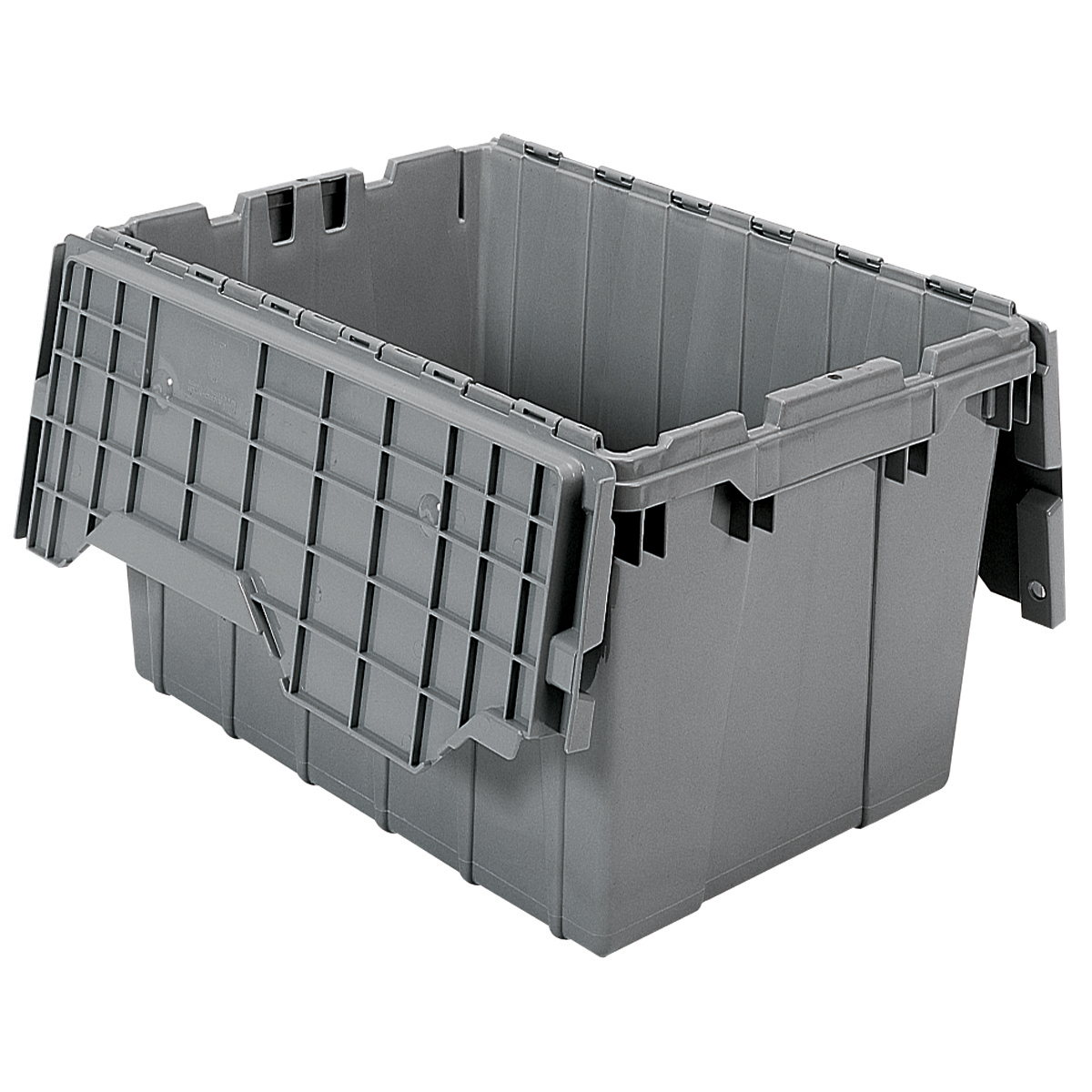 Attached Lid Container 12 gal, 21-1/2 x 15 x 12-1/2, Gray (39120).  This item sold in carton quantities of 6.
