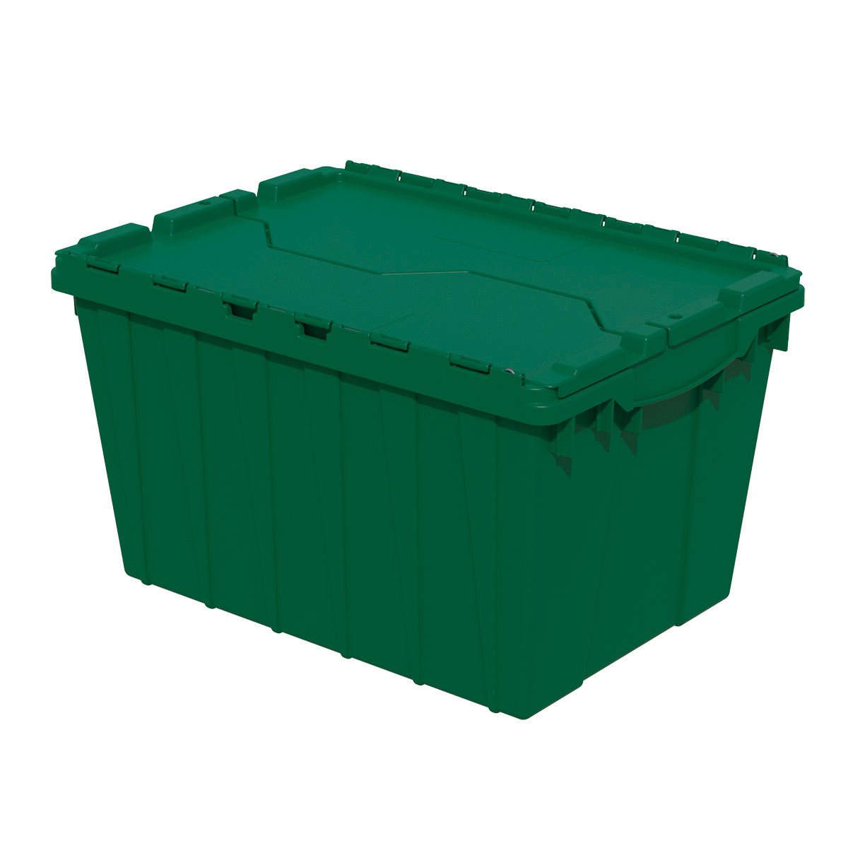Attached Lid Container 12 gal, 21-1/2 x 15 x 12-1/2, Green (39120GRN).  This item sold in carton quantities of 6.