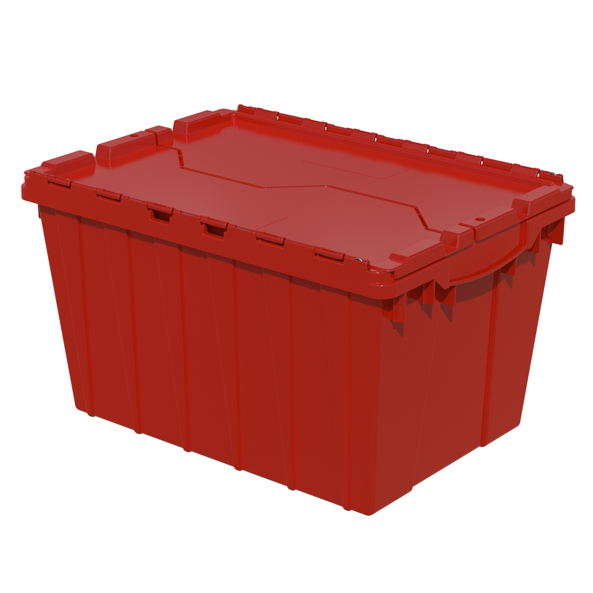 Attached Lid Container 12 gal, 21-1/2 x 15 x 12-1/2, Red (39120RED).  This item sold in carton quantities of 6.