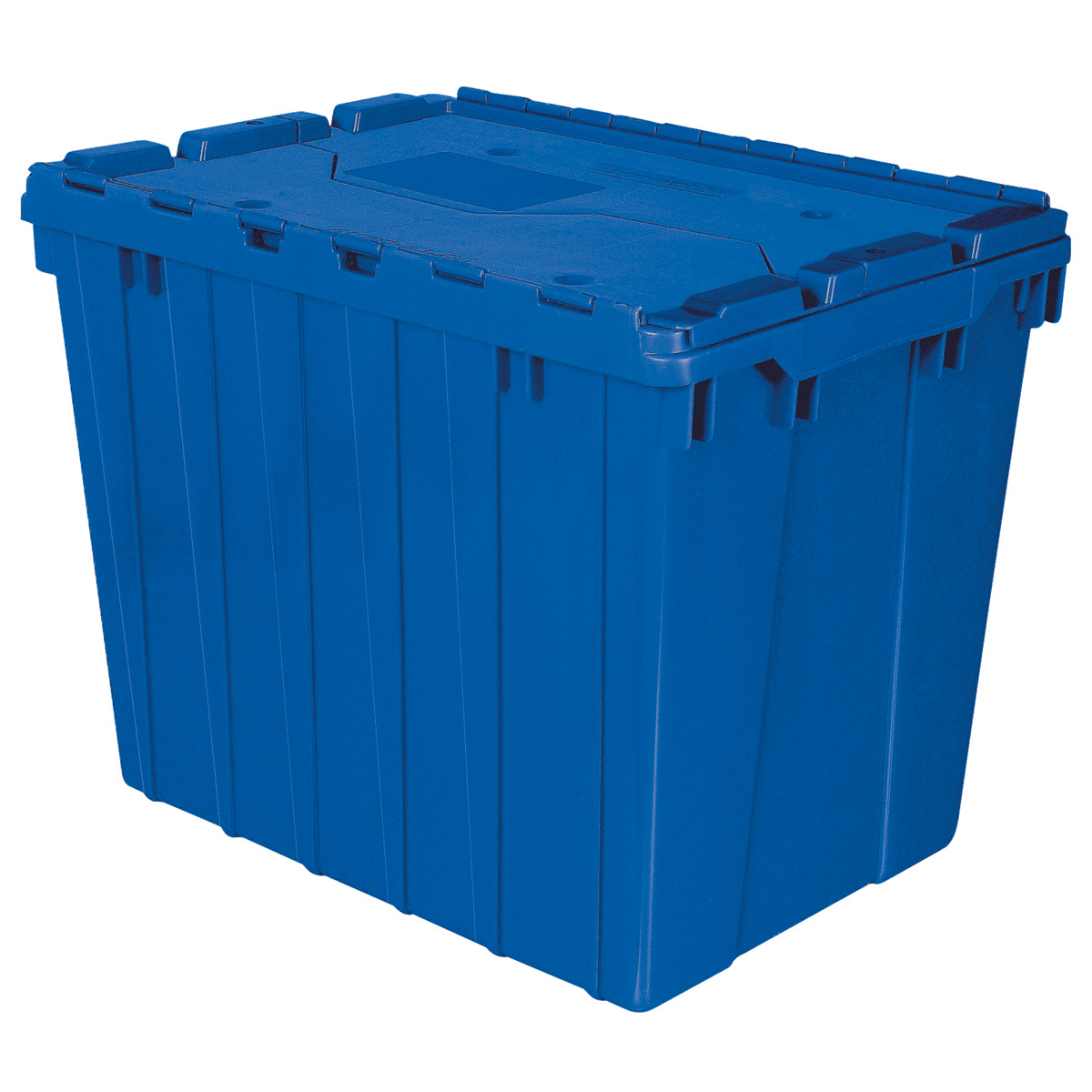 Attached Lid Container 17 gal, 21-1/2 x 15 x 17, Blue (39170BLUE).  This item sold in carton quantities of 3.