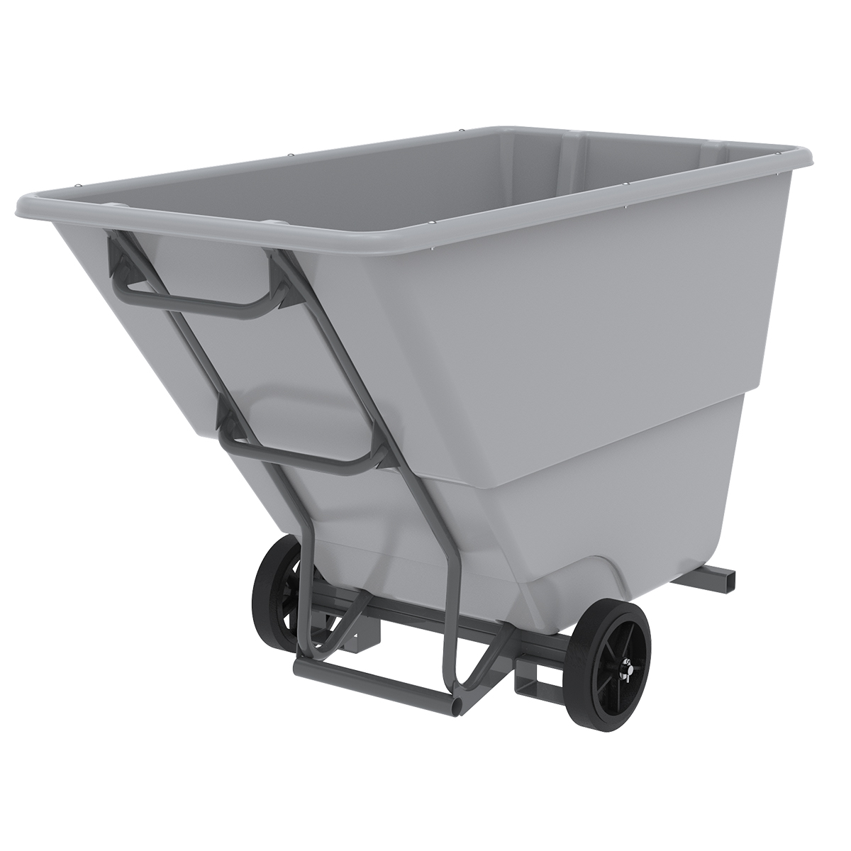Akro-Tilt Truck w/ Fork Channels Heavy-Duty 200 Gal, 33 x 66 x 42, Gray (77510FGREY).  This item sold in carton quantities of 1.