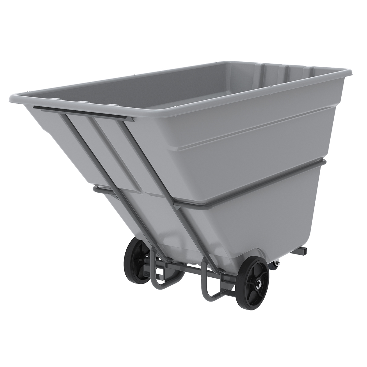 Akro-Tilt Truck w/ Fork Channels Heavy-Duty 300 Gal, 39 x 85 x 51, Gray (77710FGREY).  This item sold in carton quantities of 1.