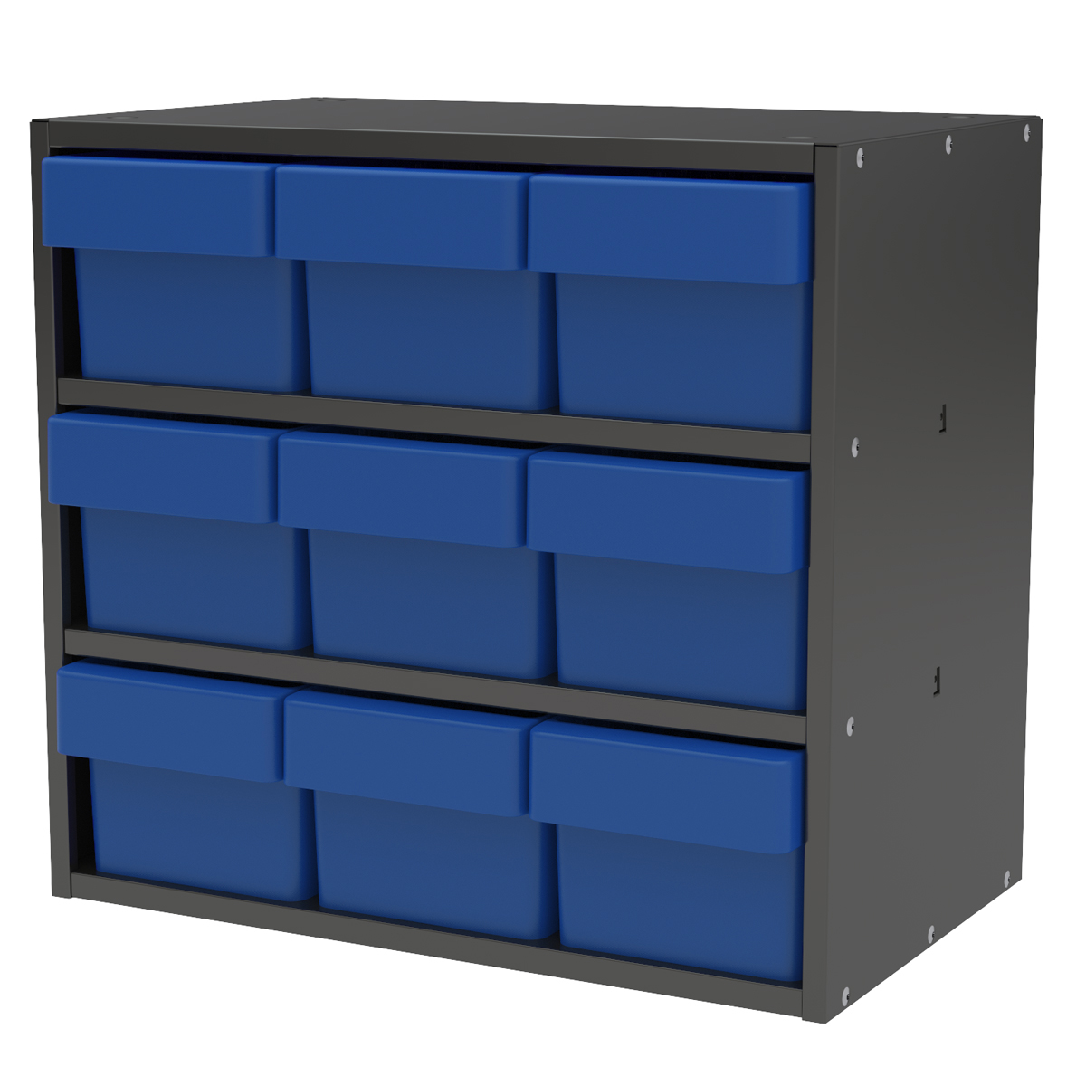 Item DISCONTINUED by Manufacturer.  Modular Cabinet, 18x11x16, 9 Drawers, Gray/Blue (AD1811C62BLU).  This item sold in carton quantities of 1.