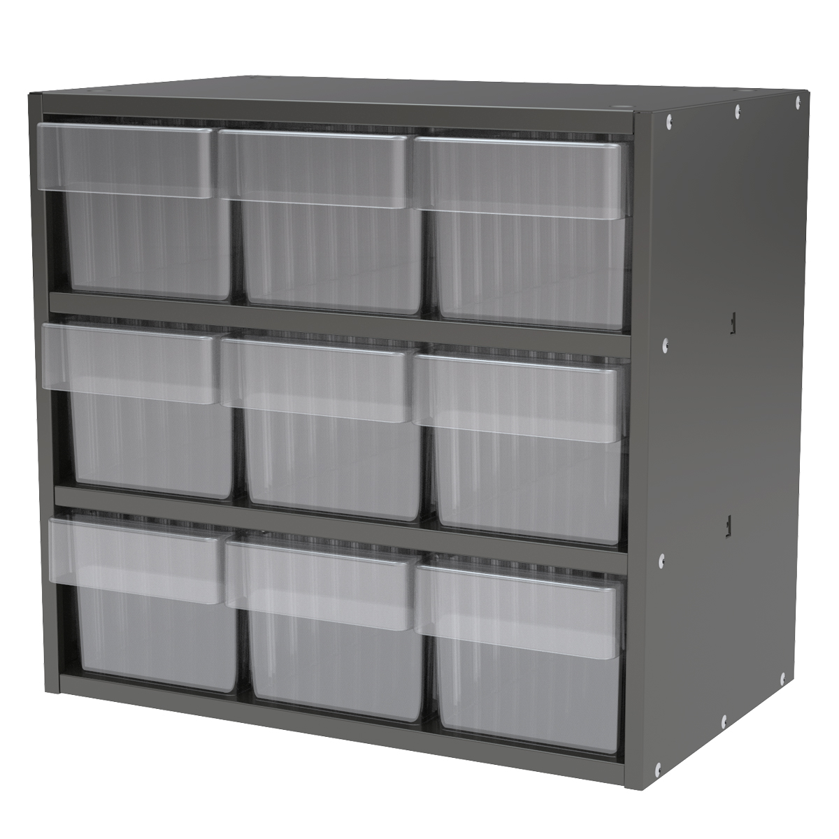 Item DISCONTINUED by Manufacturer.  Modular Cabinet, 18x11x16, 9 Drawers, Gray/Clear (AD1811C62CRY).  This item sold in carton quantities of 1.