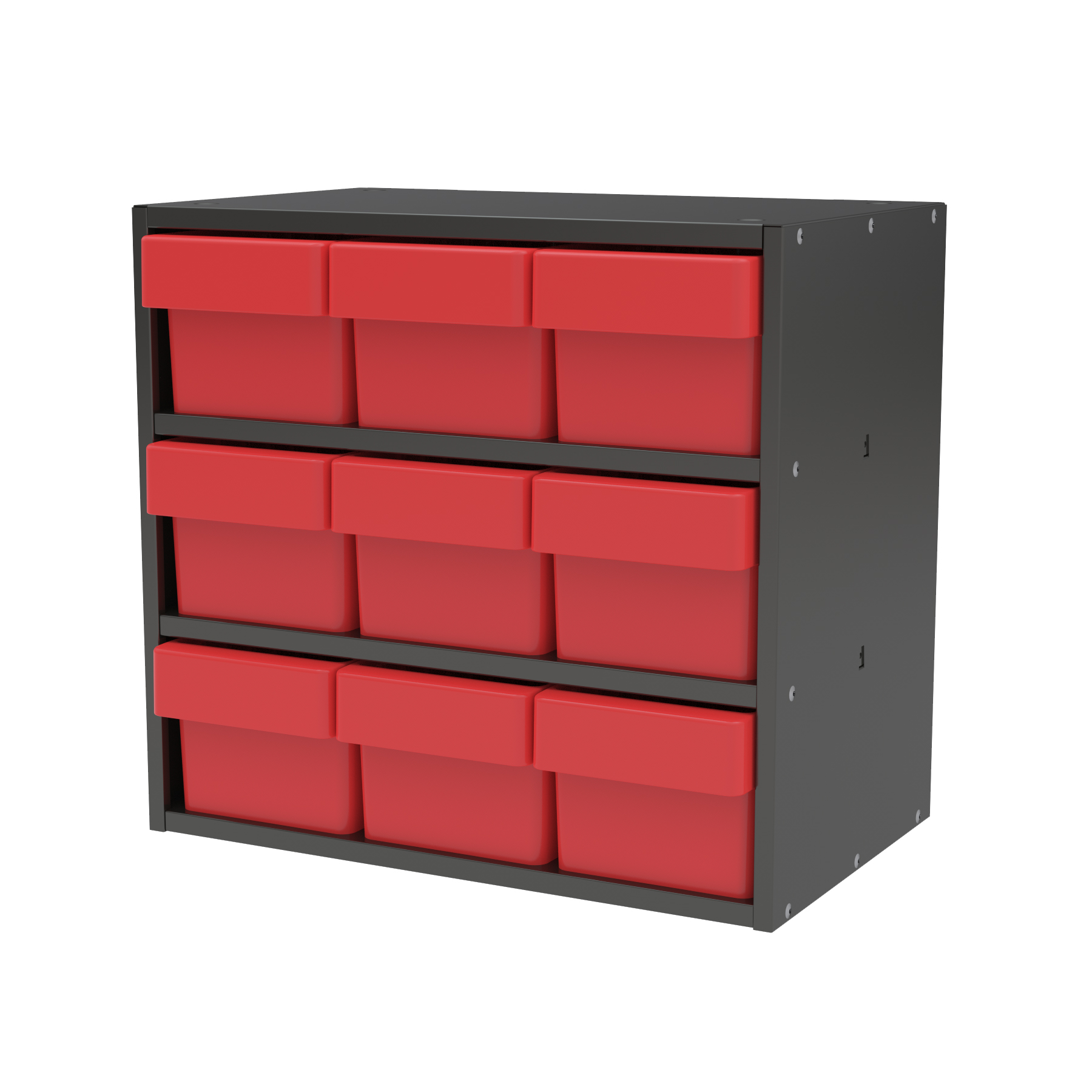 Item DISCONTINUED by Manufacturer.  Modular Cabinet, 18x11x16, 9 Drawers, Gray/Red (AD1811C62RED).  This item sold in carton quantities of 1.