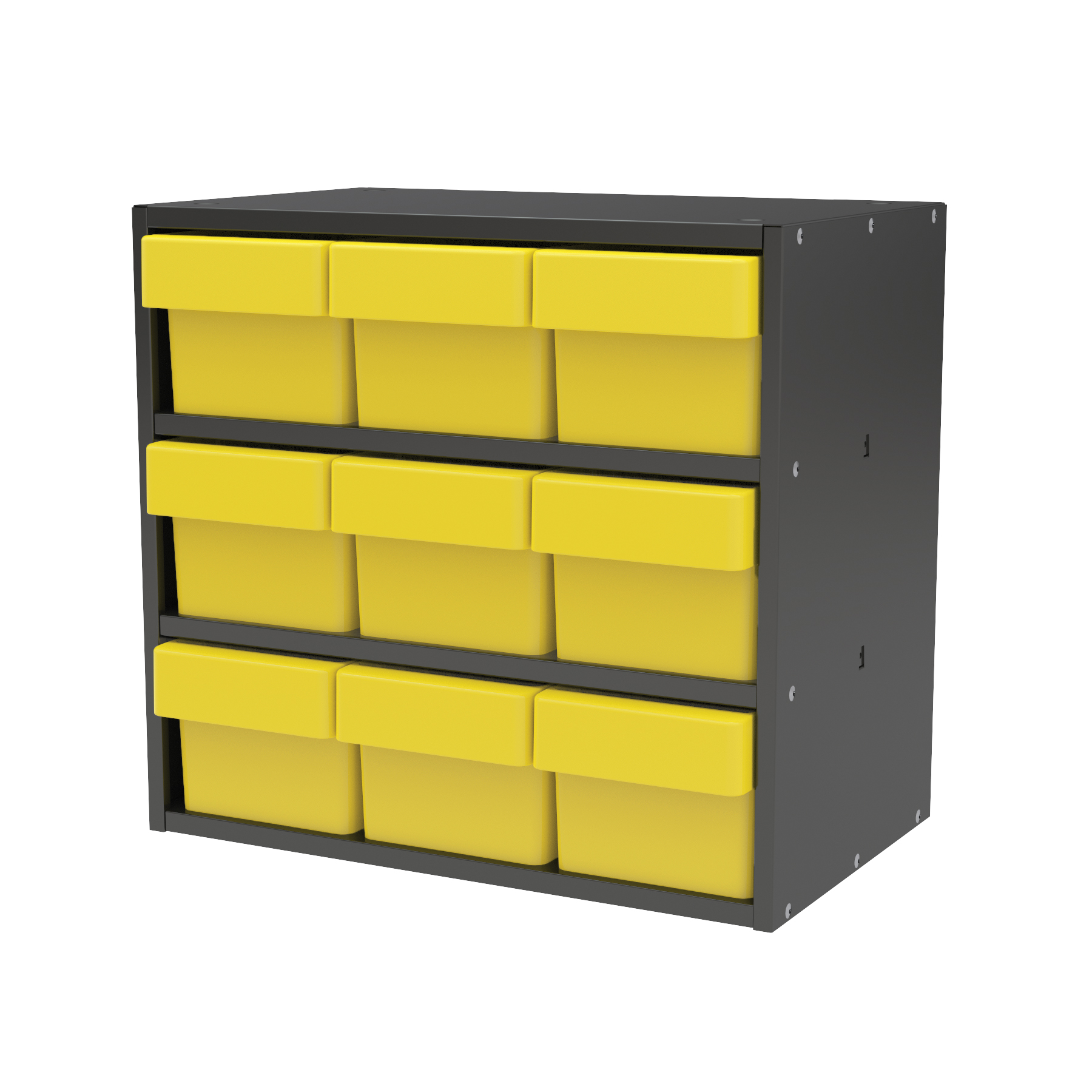 Item DISCONTINUED by Manufacturer.  Modular Cabinet, 18x11x16, 9 Drawers, Gray/Yellow (AD1811C62YEL).  This item sold in carton quantities of 1.