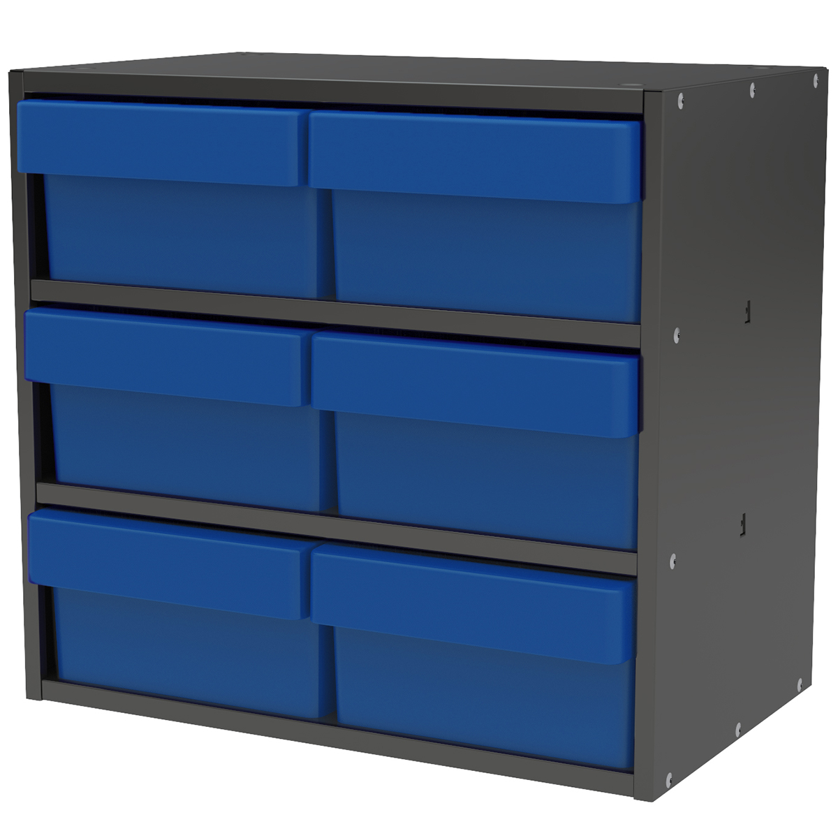Item DISCONTINUED by Manufacturer.  Modular Cabinet, 18x11x16, 6 Drawers, Gray/Blue (AD1811C82BLU).  This item sold in carton quantities of 1.