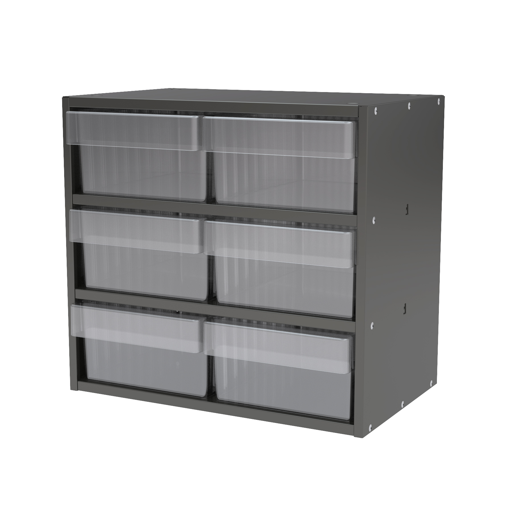 Item DISCONTINUED by Manufacturer.  Modular Cabinet, 18x11x16, 6 Drawers, Gray/Clear (AD1811C82CRY).  This item sold in carton quantities of 1.