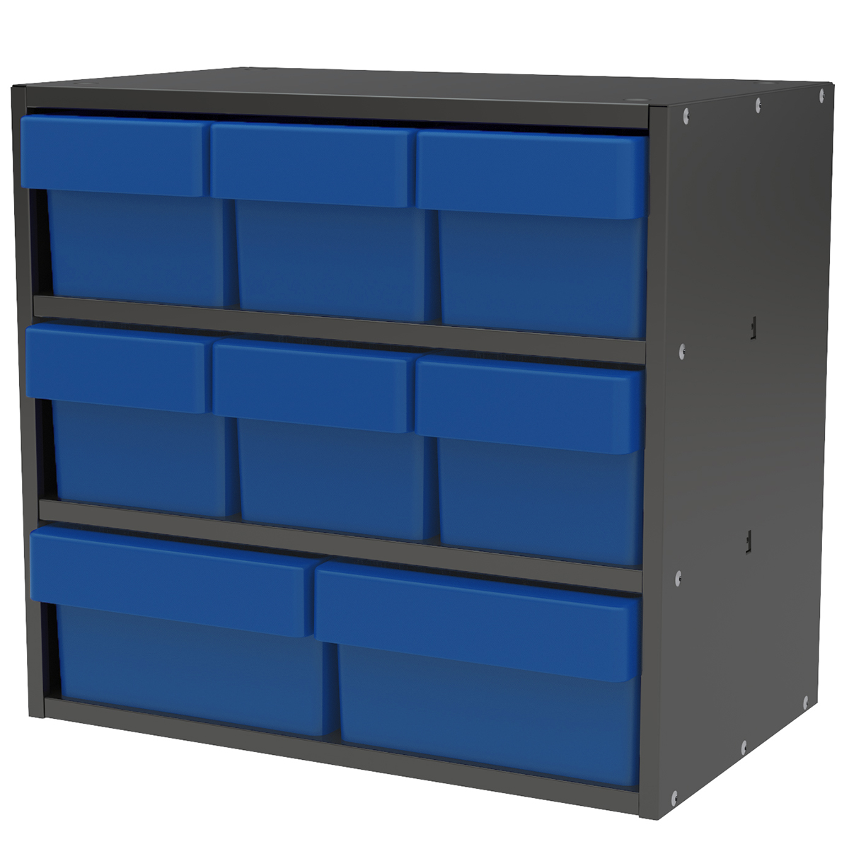 Item DISCONTINUED by Manufacturer.  Modular Cabinet, 18x11x16, 8 Drawers, Gray/Blue (AD1811CASTBLU).  This item sold in carton quantities of 1.