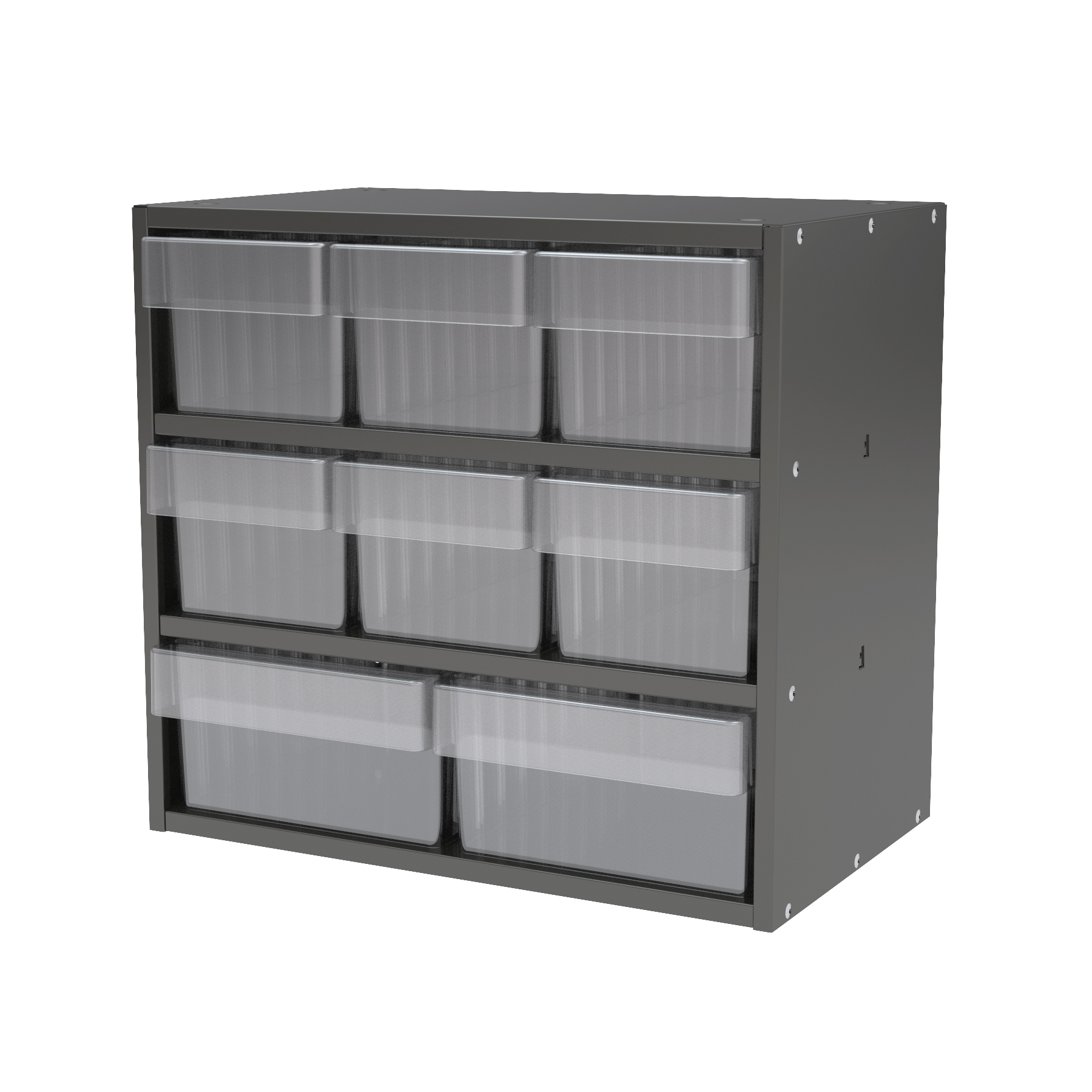 Item DISCONTINUED by Manufacturer.  Modular Cabinet, 18x11x16, 8 Drawers, Gray/Clear (AD1811CASTCRY).  This item sold in carton quantities of 1.