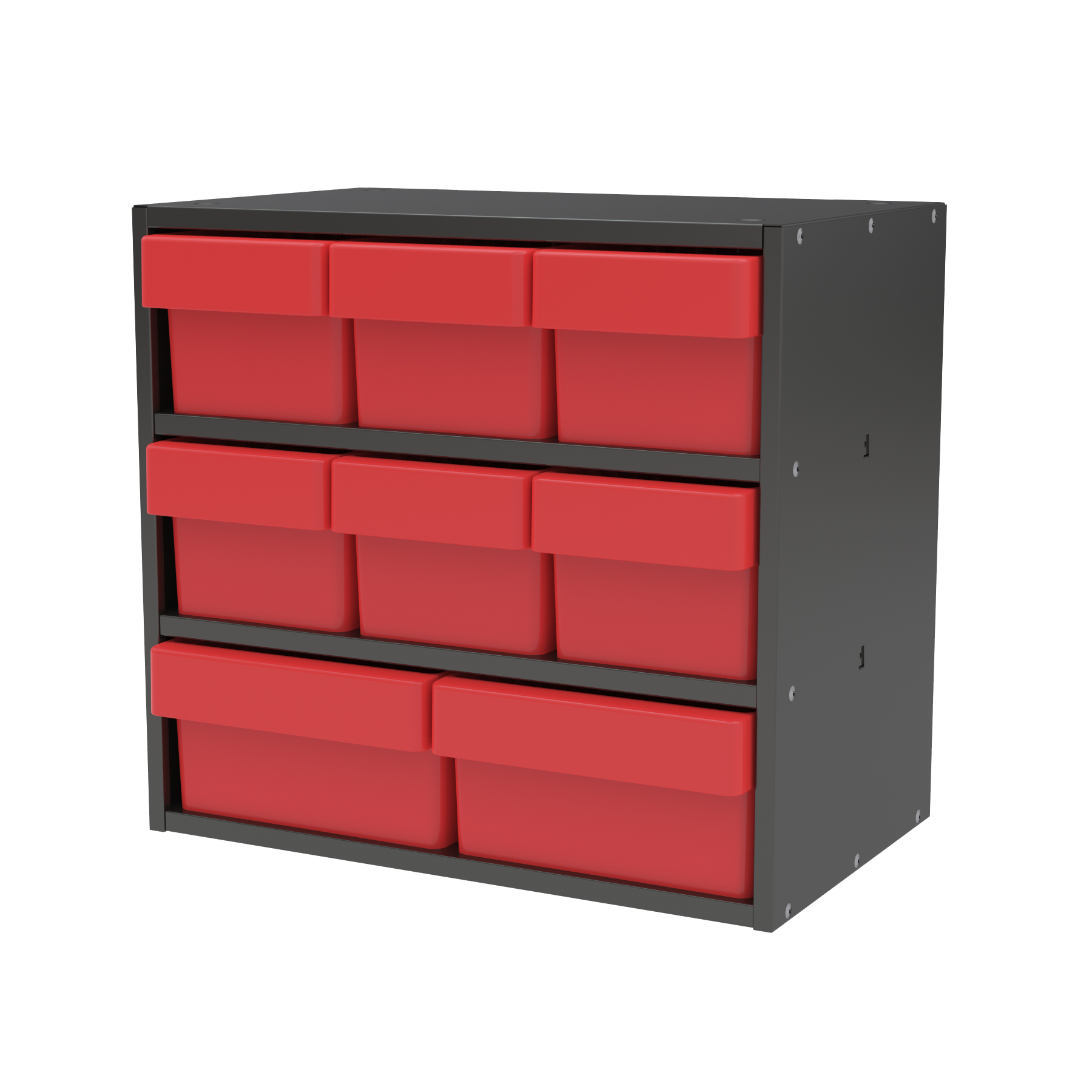 Item DISCONTINUED by Manufacturer.  Modular Cabinet, 18x11x16, 8 Drawers, Gray/Red (AD1811CASTRED).  This item sold in carton quantities of 1.