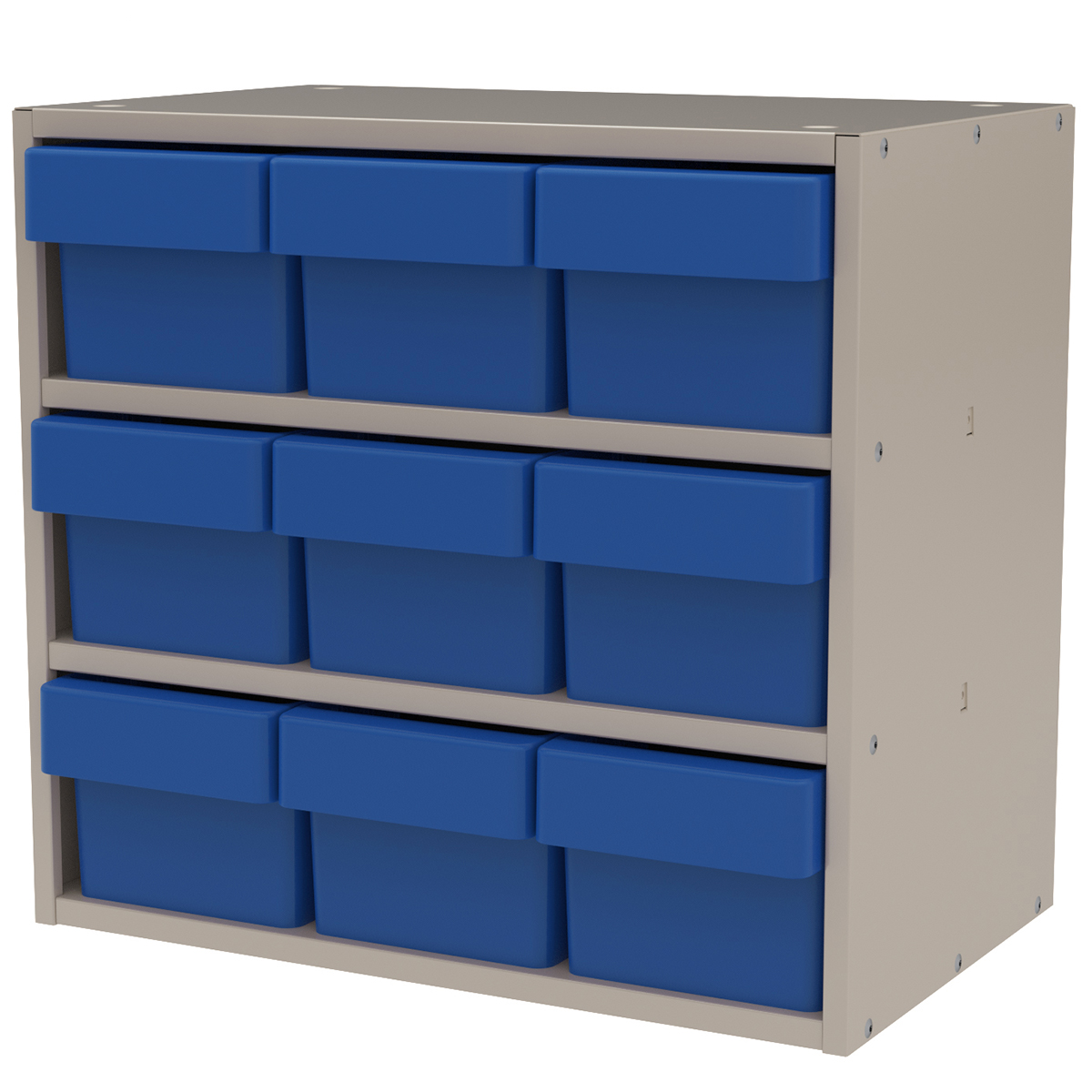 Item DISCONTINUED by Manufacturer.  Modular Cabinet, 18x11x16, 9 Drawers, Putty/Blue (AD1811P62BLU).  This item sold in carton quantities of 1.