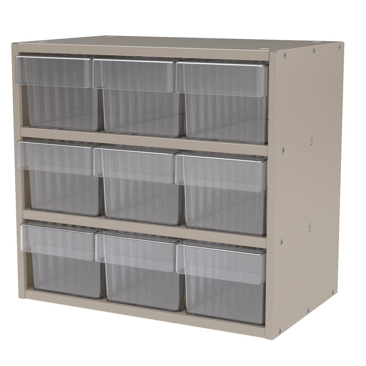 Item DISCONTINUED by Manufacturer.  Modular Cabinet, 18x11x16, 9 Drawers, Putty/Clear (AD1811P62CRY).  This item sold in carton quantities of 1.