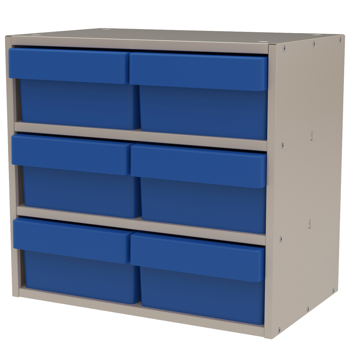 Item DISCONTINUED by Manufacturer.  Modular Cabinet, 18x11x16, 6 Drawers, Putty/Blue (AD1811P82BLU).  This item sold in carton quantities of 1.