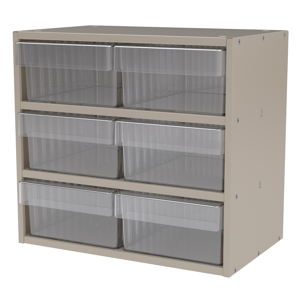 Item DISCONTINUED by Manufacturer.  Modular Cabinet, 18x11x16, 6 Drawers, Putty/Clear (AD1811P82CRY).  This item sold in carton quantities of 1.