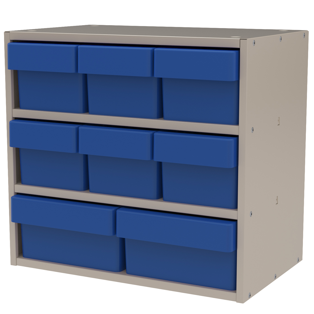 Item DISCONTINUED by Manufacturer.  Modular Cabinet, 18x11x16, 8 Drawers, Putty/Blue (AD1811PASTBLU).  This item sold in carton quantities of 1.