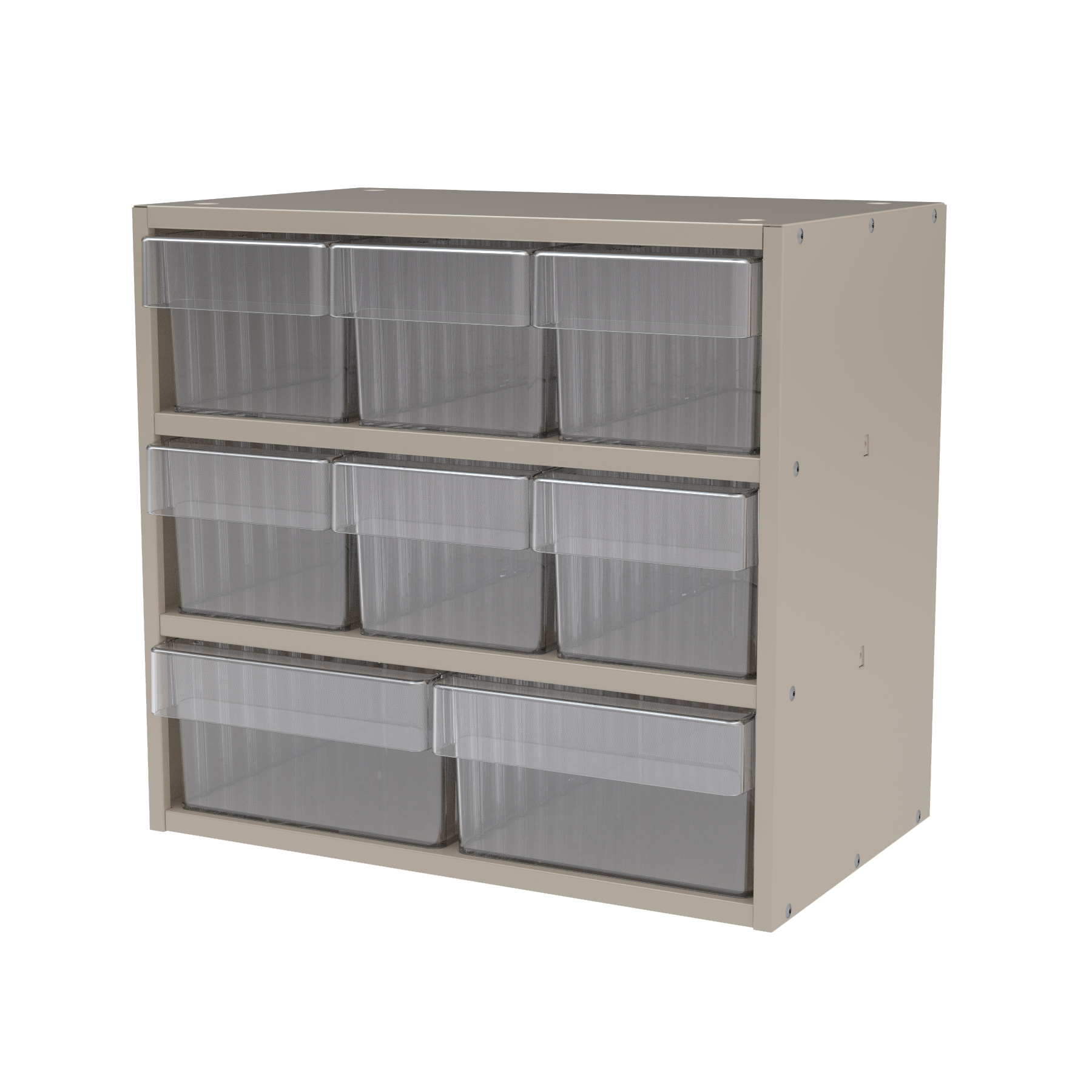 Item DISCONTINUED by Manufacturer.  Modular Cabinet, 18x11x16, 8 Drawers, Putty/Clear (AD1811PASTCRY).  This item sold in carton quantities of 1.