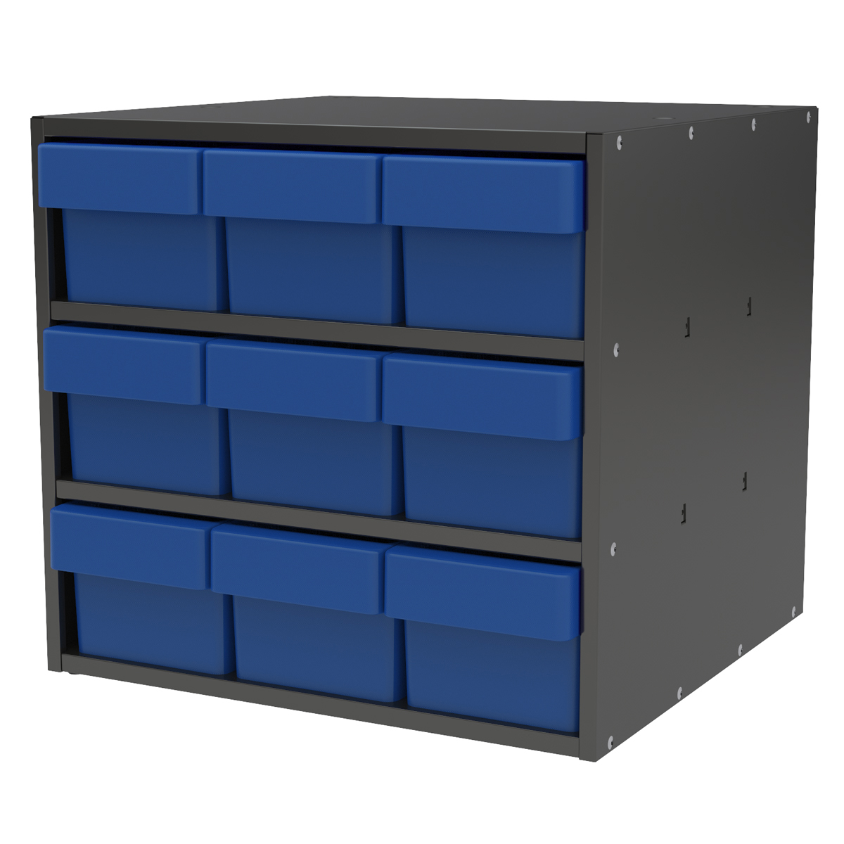 Item DISCONTINUED by Manufacturer.  Modular Cabinet, 18x17x16, 9 Drawers, Gray/Blue (AD1817C68BLU).  This item sold in carton quantities of 1.