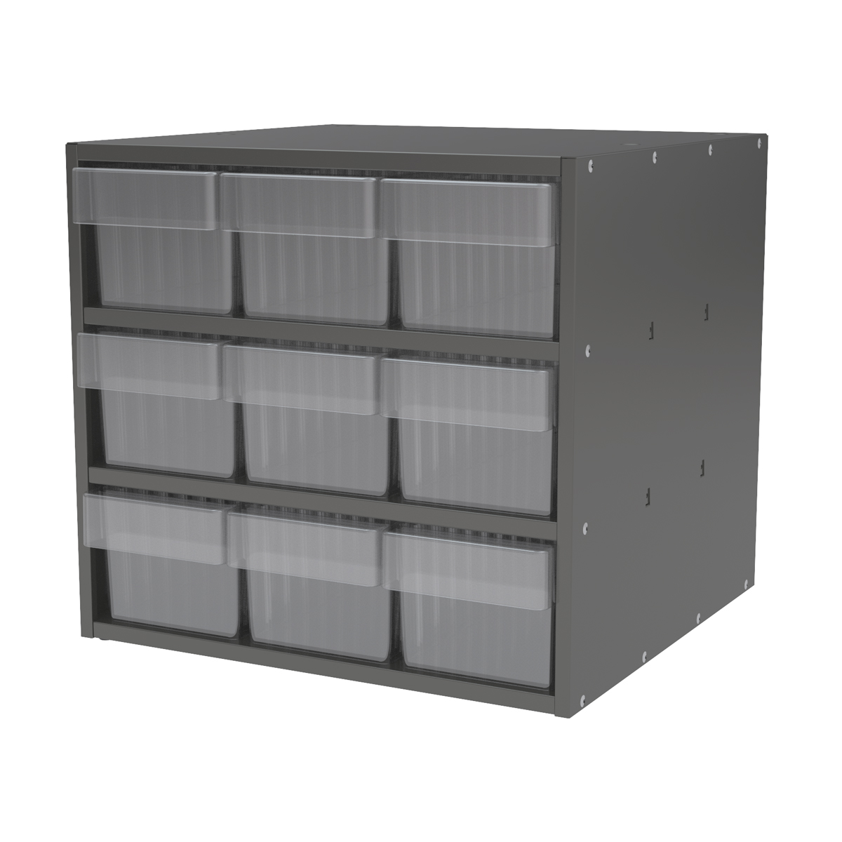 Item DISCONTINUED by Manufacturer.  Modular Cabinet, 18x17x16, 9 Drawers, Gray/Clear (AD1817C68CRY).  This item sold in carton quantities of 1.