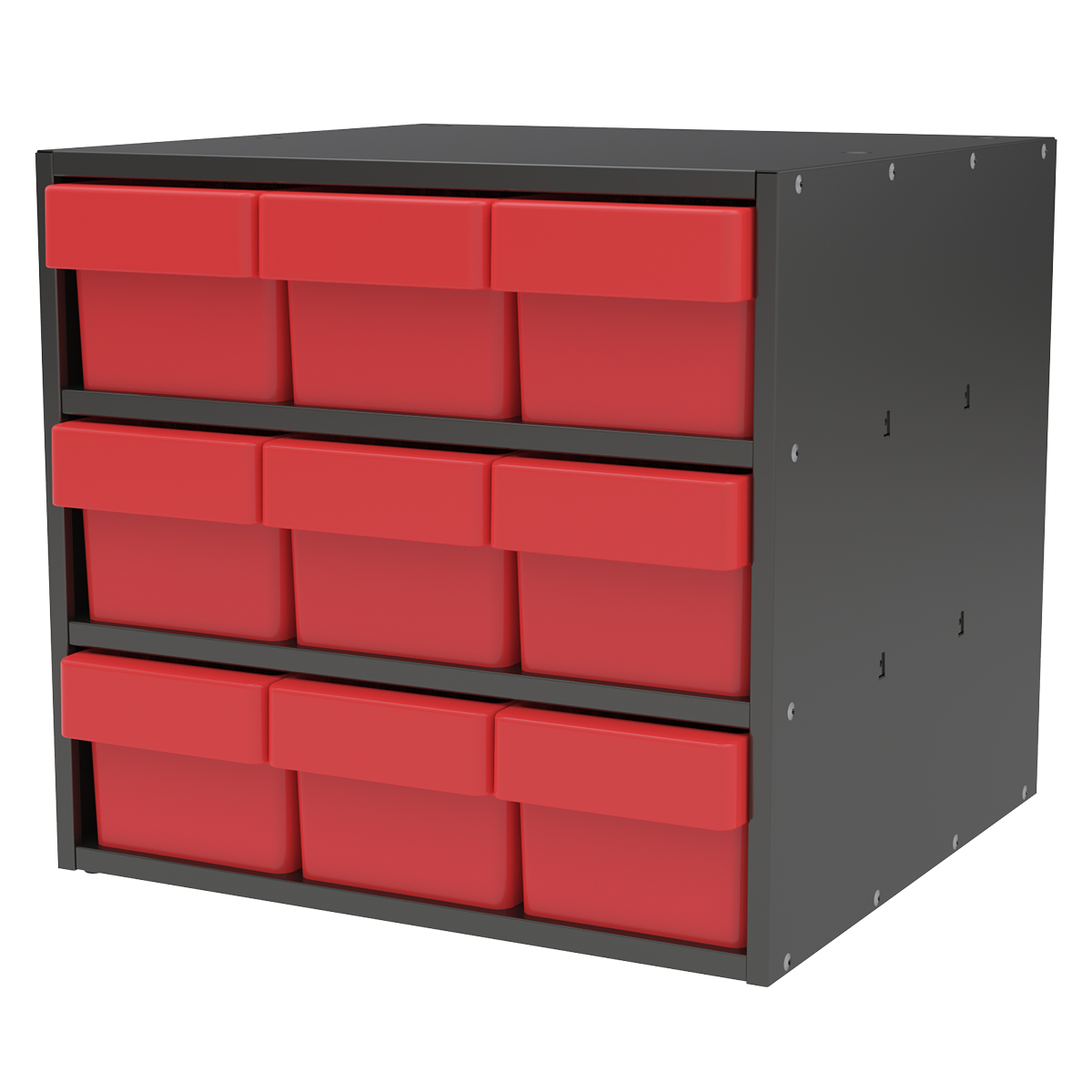 Item DISCONTINUED by Manufacturer.  Modular Cabinet, 18x17x16, 9 Drawers, Gray/Red (AD1817C68RED).  This item sold in carton quantities of 1.