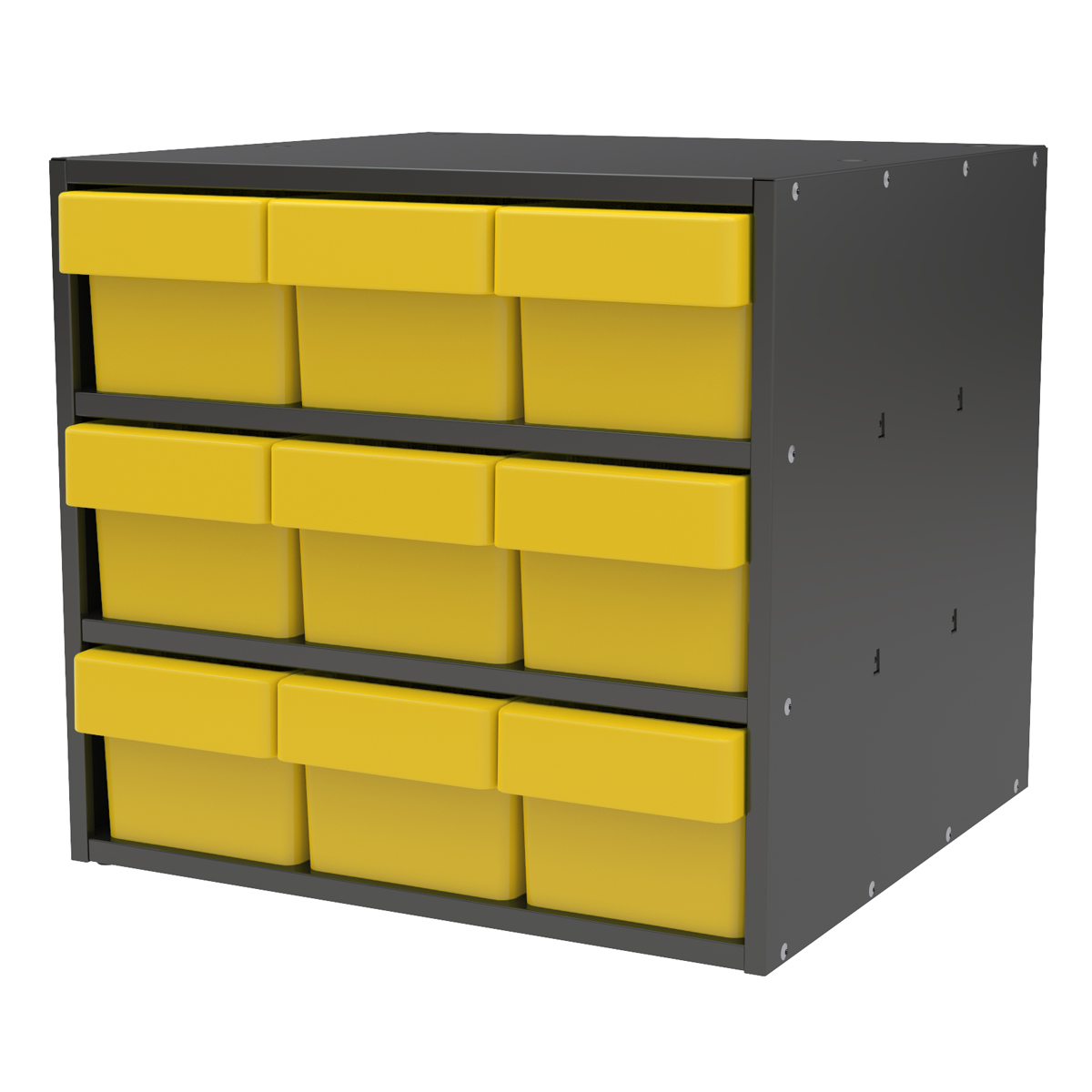 Item DISCONTINUED by Manufacturer.  Modular Cabinet, 18x17x16, 9 Drawers, Gray/Yellow (AD1817C68YEL).  This item sold in carton quantities of 1.