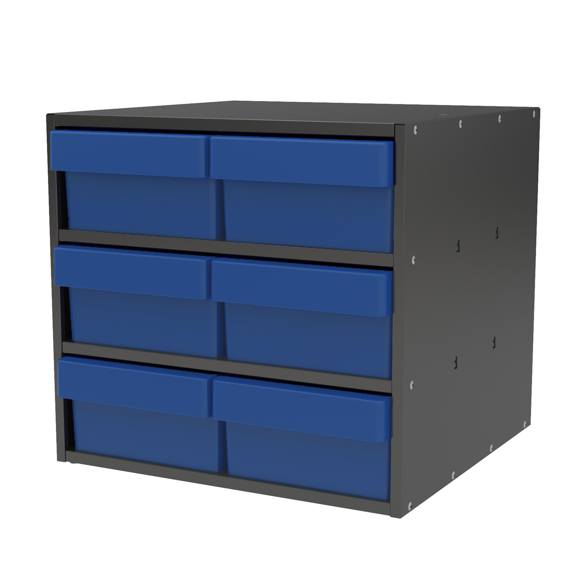 Item DISCONTINUED by Manufacturer.  Modular Cabinet, 18x17x16, 6 Drawers, Gray/Blue (AD1817C88BLU).  This item sold in carton quantities of 1.