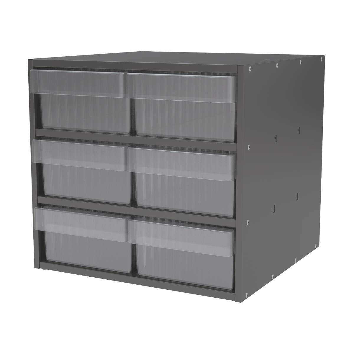 Item DISCONTINUED by Manufacturer.  Modular Cabinet, 18x17x16, 6 Drawers, Gray/Clear (AD1817C88CRY).  This item sold in carton quantities of 1.