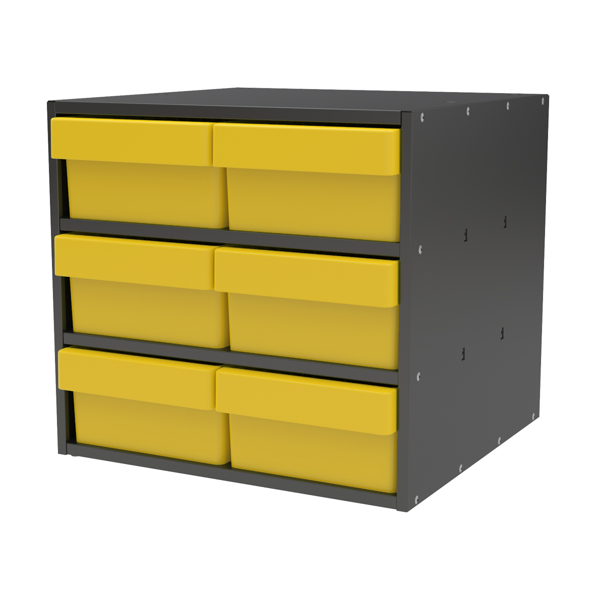 Item DISCONTINUED by Manufacturer.  Modular Cabinet, 18x17x16, 6 Drawers, Gray/Yellow (AD1817C88YEL).  This item sold in carton quantities of 1.