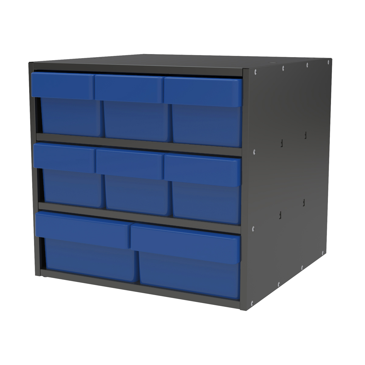 Item DISCONTINUED by Manufacturer.  Modular Cabinet, 18x17x16, 8 Drawers, Gray/Blue (AD1817CASTBLU).  This item sold in carton quantities of 1.
