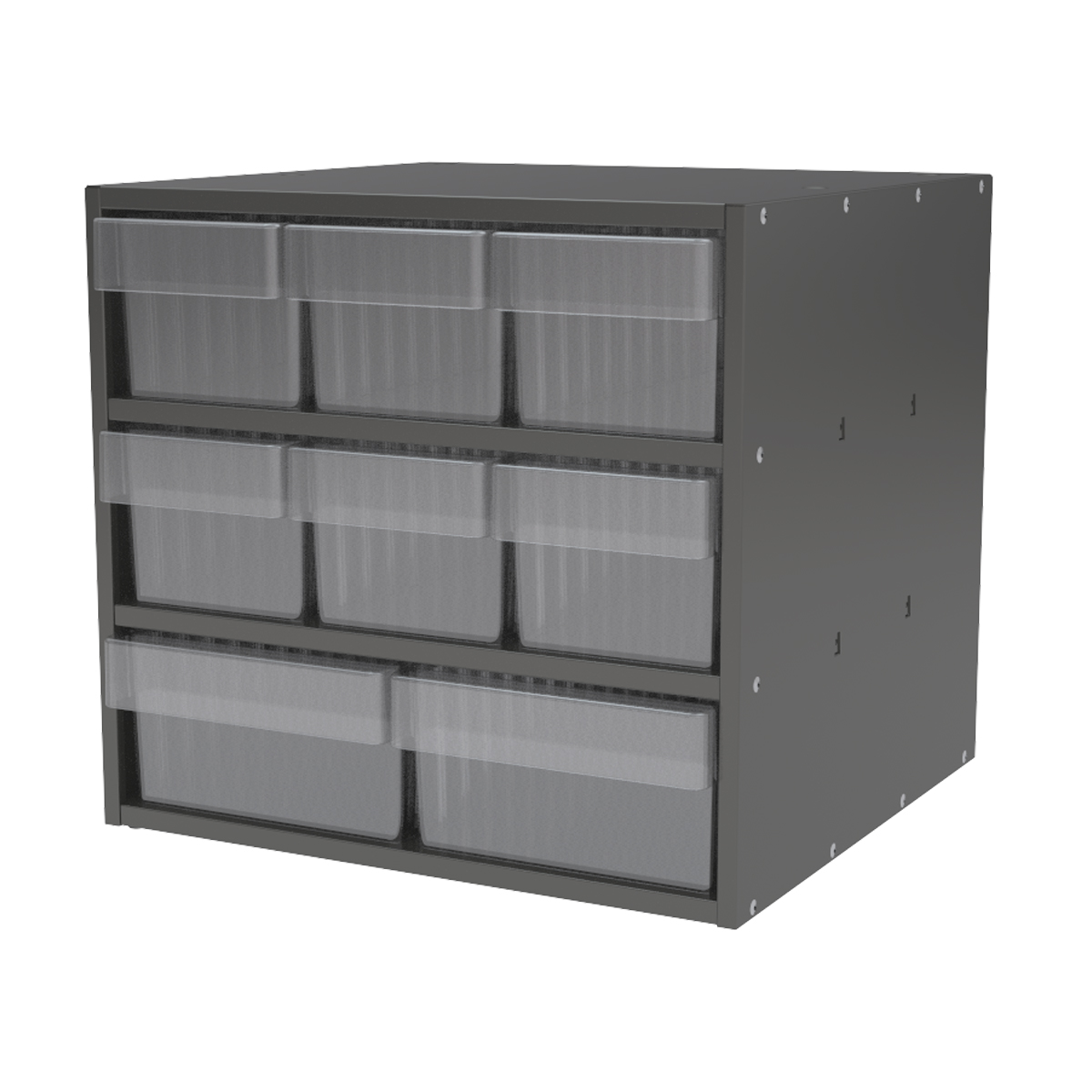 Item DISCONTINUED by Manufacturer.  Modular Cabinet, 18x17x16, 8 Drawers, Gray/Clear (AD1817CASTCRY).  This item sold in carton quantities of 1.