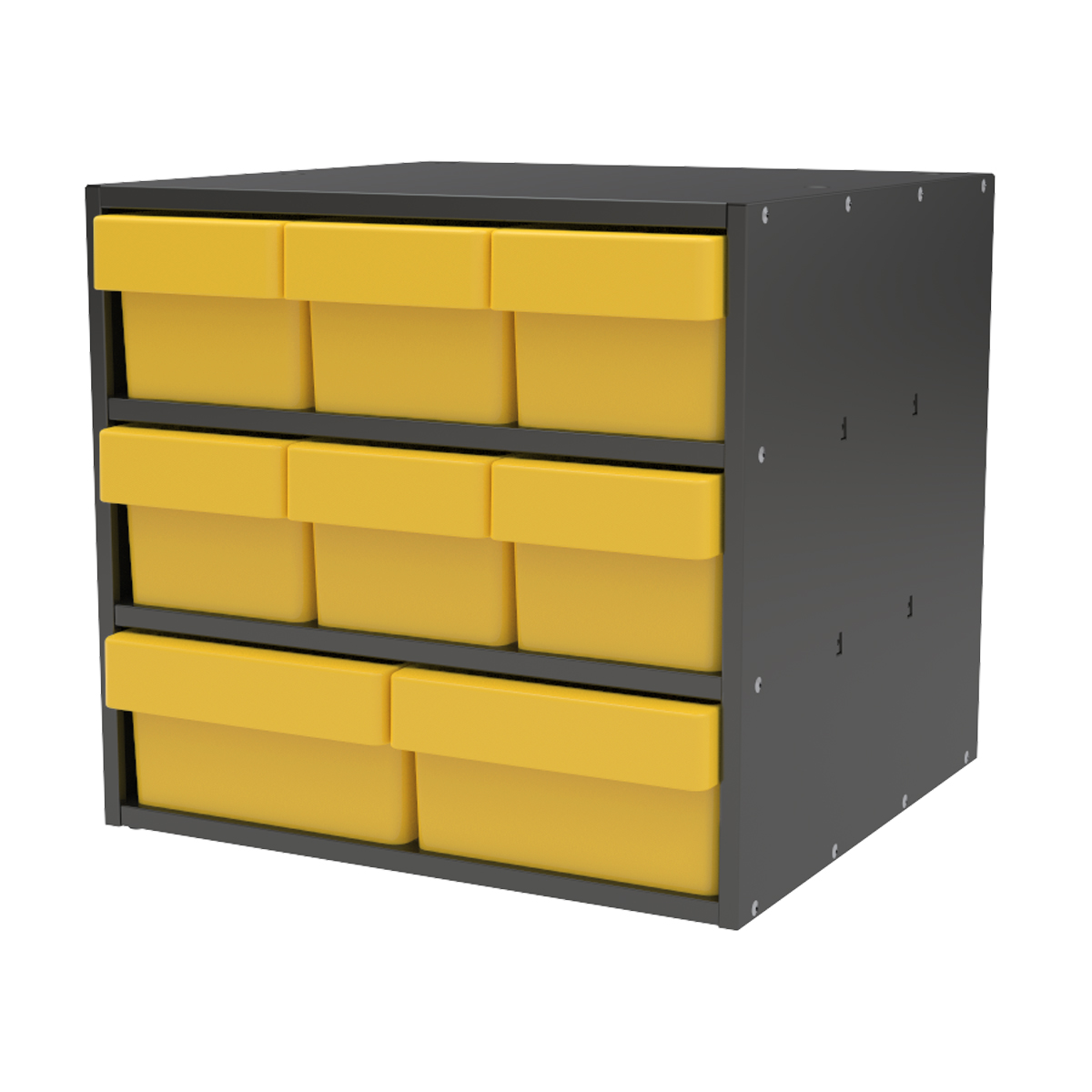 Item DISCONTINUED by Manufacturer.  Modular Cabinet, 18x17x16, 8 Drawers, Gray/Yellow (AD1817CASTYEL).  This item sold in carton quantities of 1.