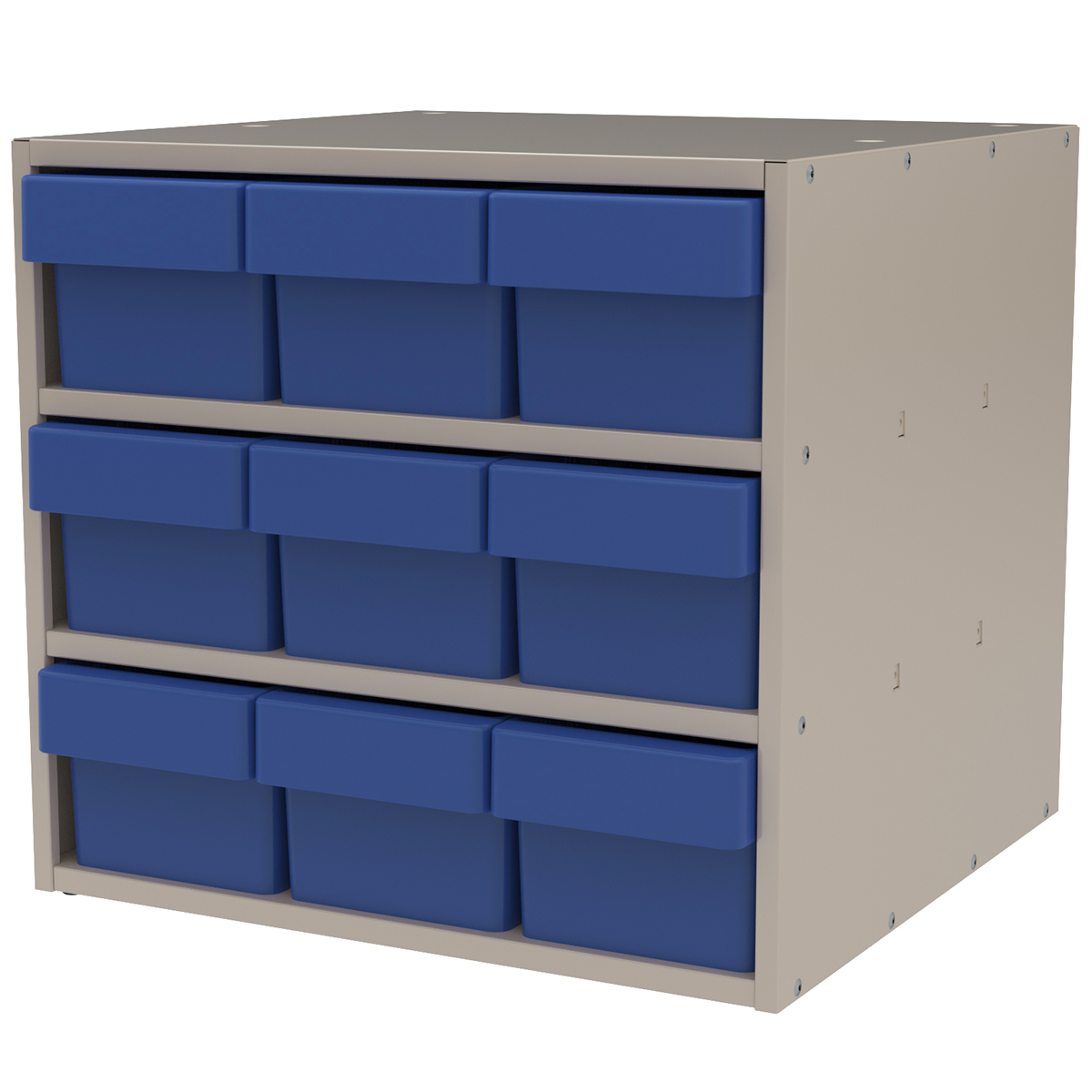 Item DISCONTINUED by Manufacturer.  Modular Cabinet, 18x17x16, 9 Drawers, Putty/Blue (AD1817P68BLU).  This item sold in carton quantities of 1.