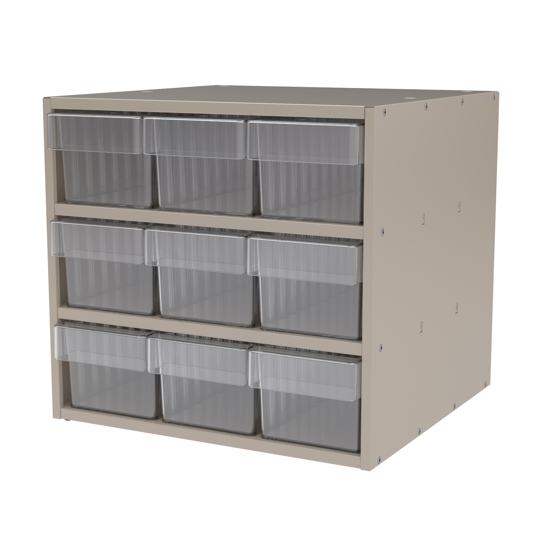 Item DISCONTINUED by Manufacturer.  Modular Cabinet, 18x17x16, 9 Drawers, Putty/Clear (AD1817P68CRY).  This item sold in carton quantities of 1.