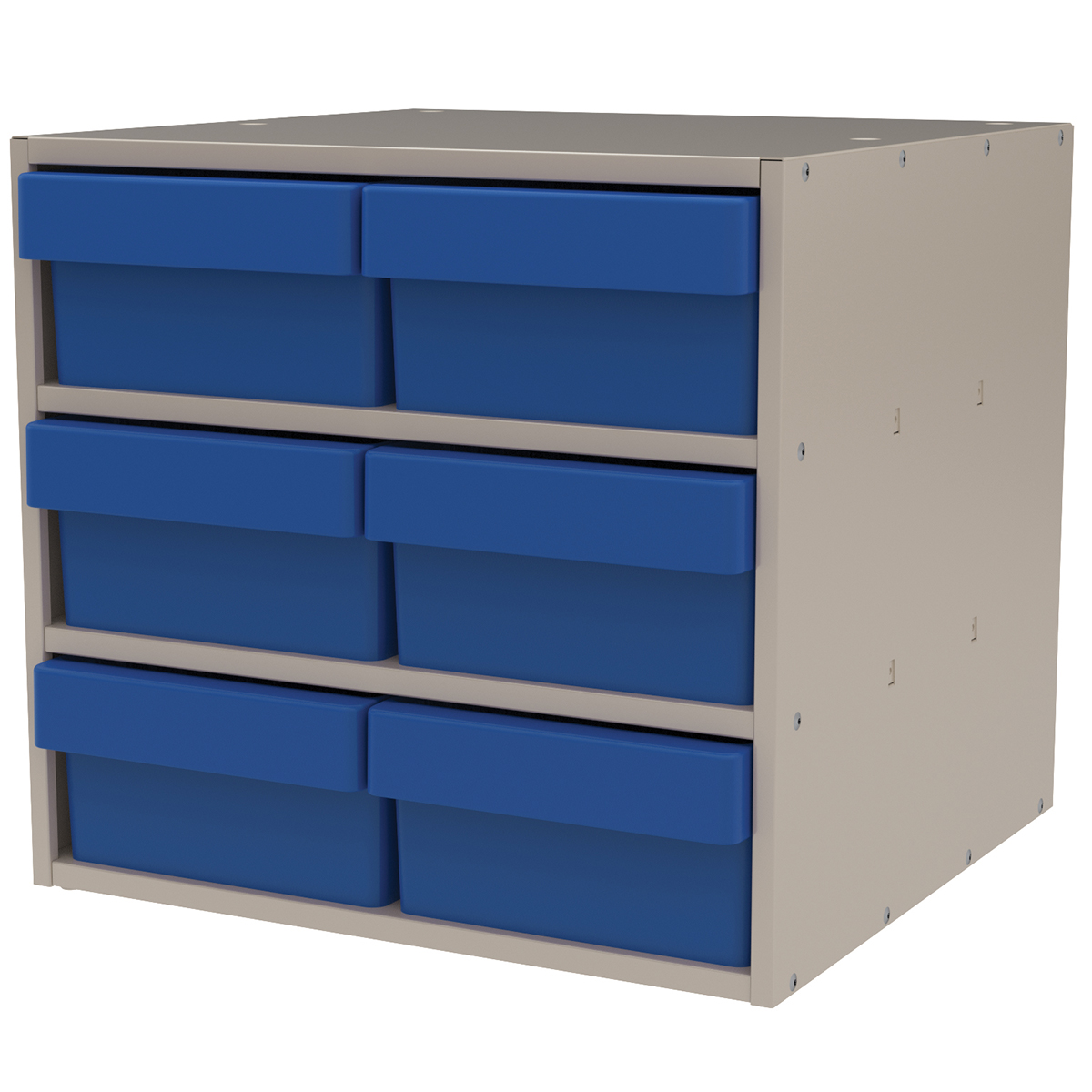 Item DISCONTINUED by Manufacturer.  Modular Cabinet, 18x17x16, 6 Drawers, Putty/Blue (AD1817P88BLU).  This item sold in carton quantities of 1.