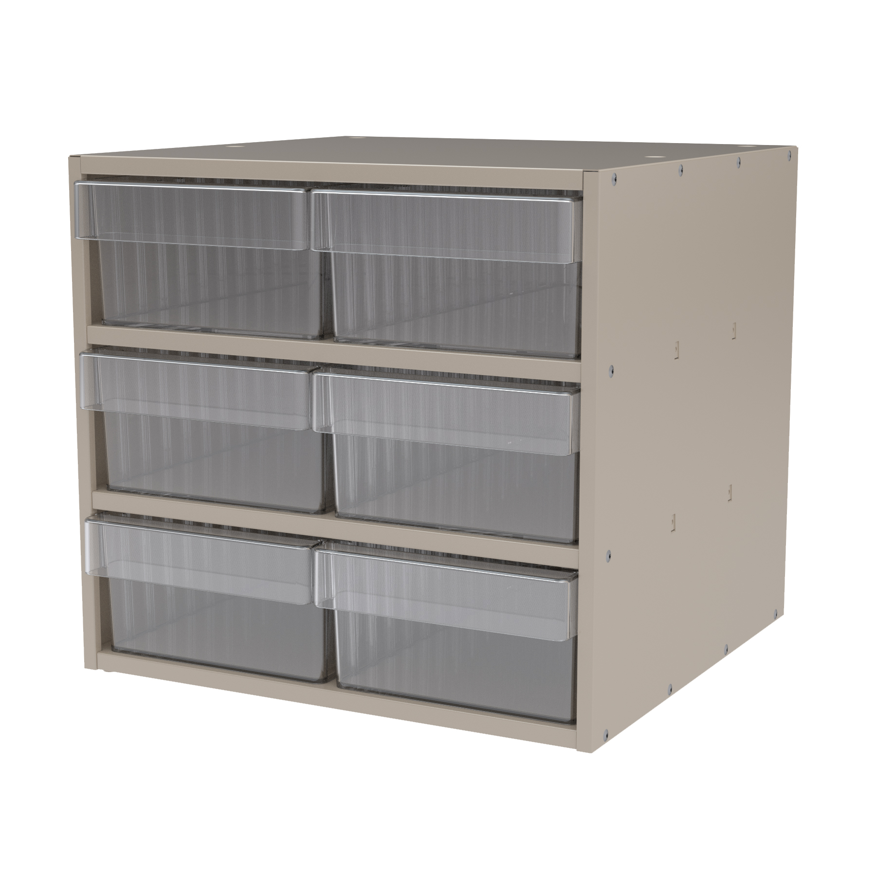 Item DISCONTINUED by Manufacturer.  Modular Cabinet, 18x17x16, 6 Drawers, Putty/Clear (AD1817P88CRY).  This item sold in carton quantities of 1.