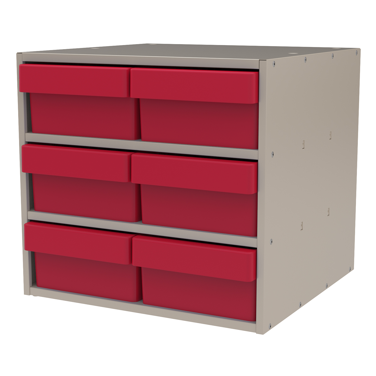 Item DISCONTINUED by Manufacturer.  Modular Cabinet, 18x17x16, 6 Drawers, Putty/Red.  This item sold in carton quantities of 1.