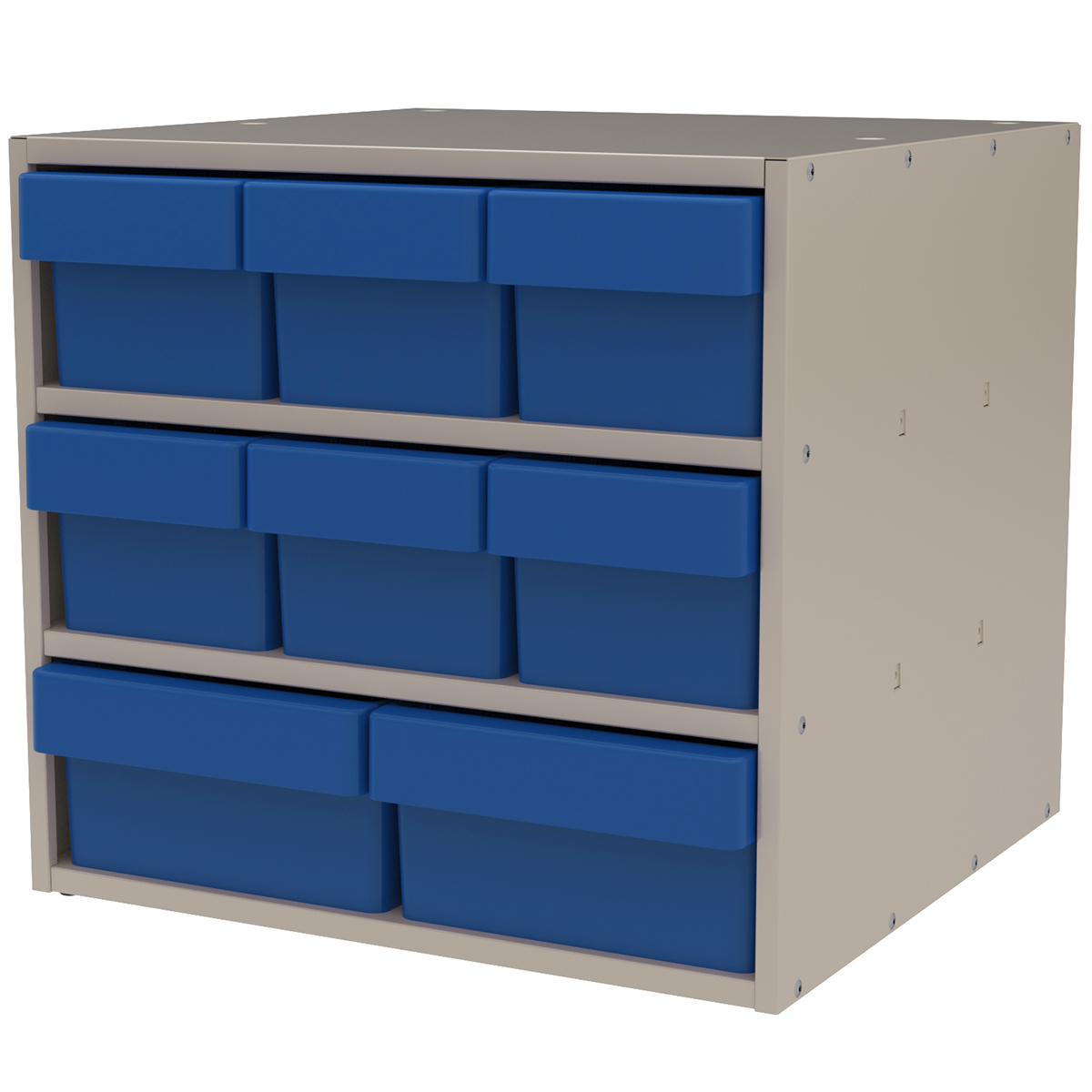 Item DISCONTINUED by Manufacturer.  Modular Cabinet, 18x17x16, 8 Drawers, Putty/Blue (AD1817PASTBLU).  This item sold in carton quantities of 1.