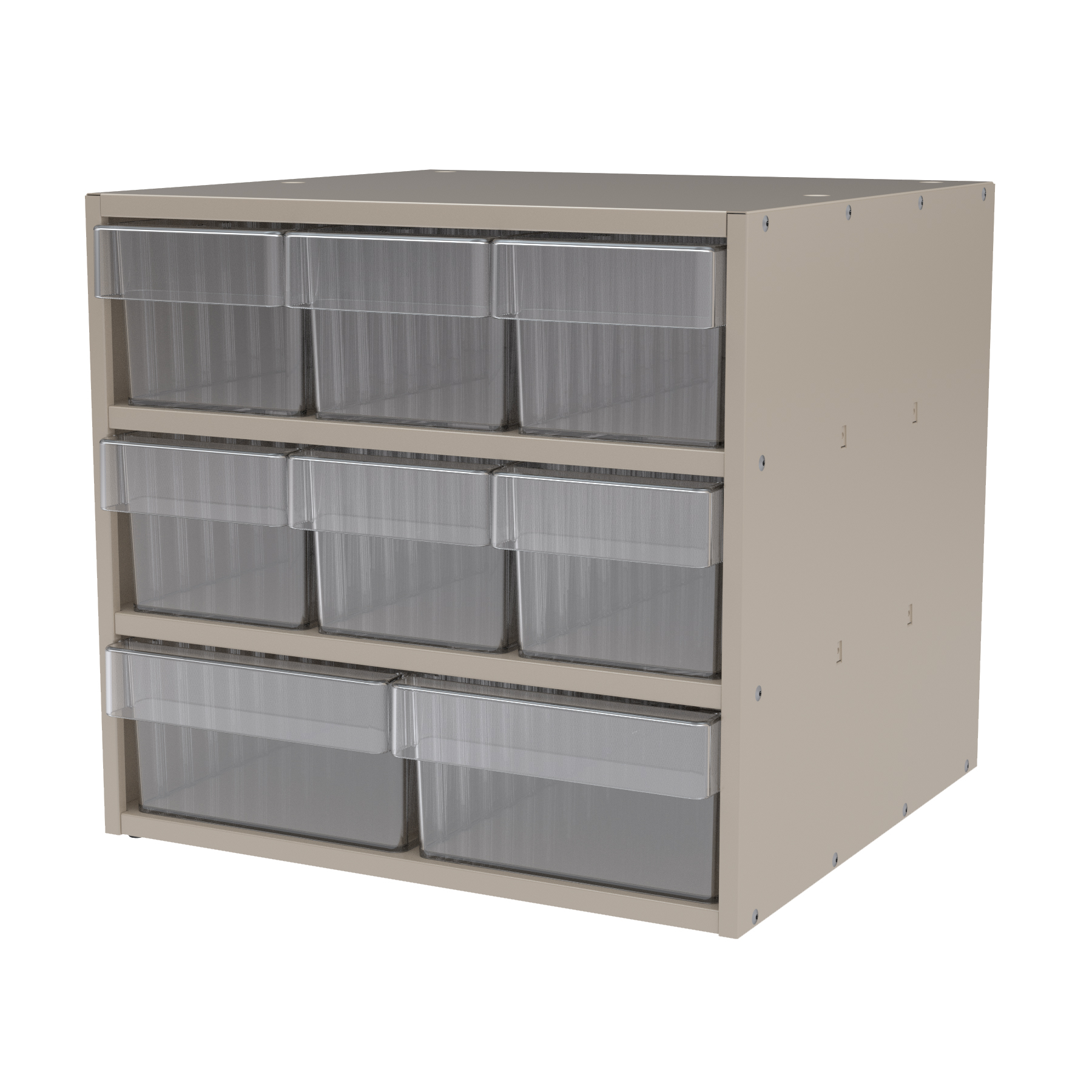 Item DISCONTINUED by Manufacturer.  Modular Cabinet, 18x17x16, 8 Drawers, Putty/Clear (AD1817PASTCRY).  This item sold in carton quantities of 1.