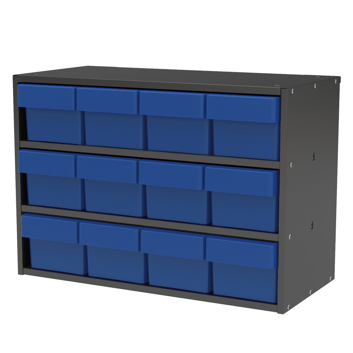 Item DISCONTINUED by Manufacturer.  Modular Cabinet, 23x11x16, 12 Drawers, Gray/Blue (AD2311C62BLU).  This item sold in carton quantities of 1.