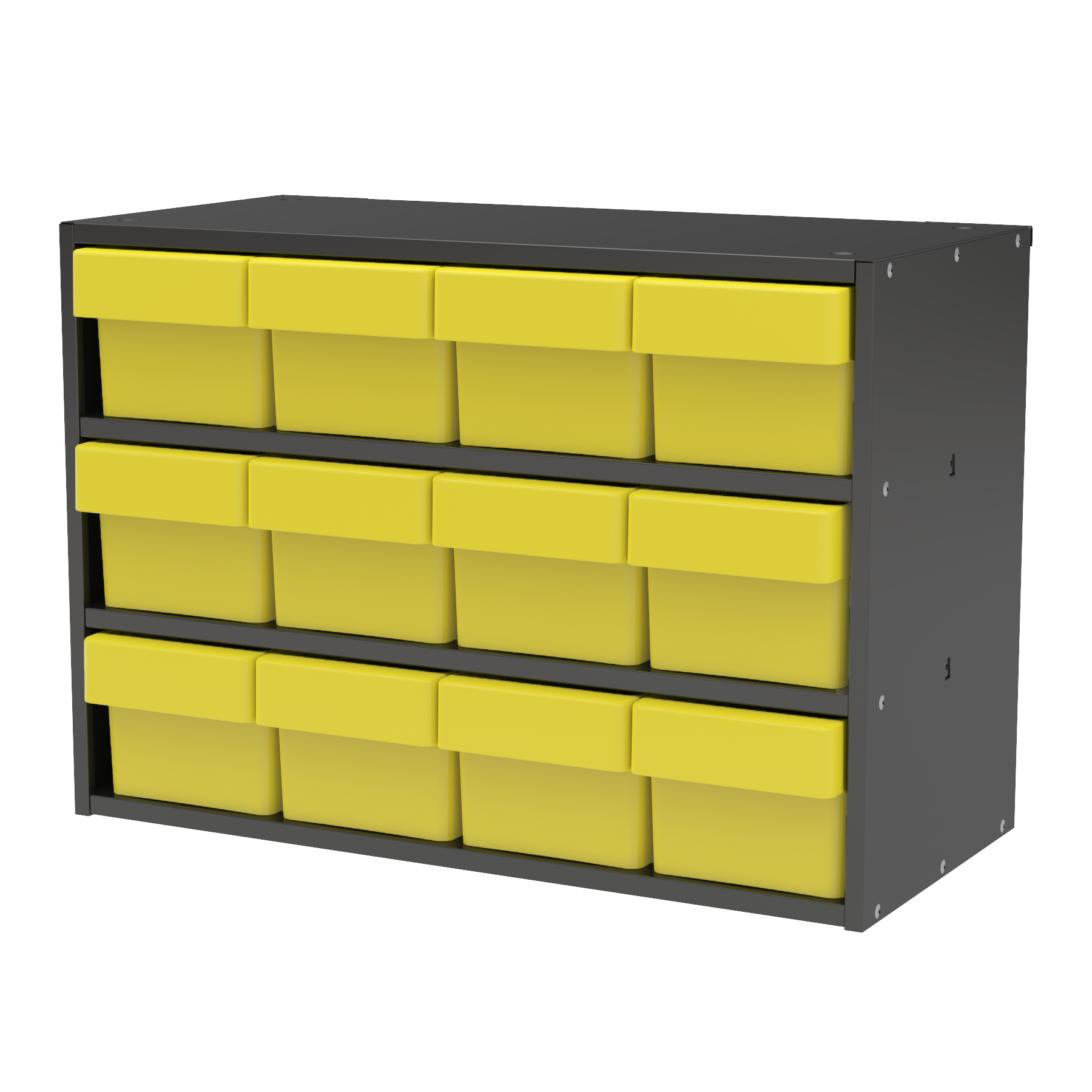 Item DISCONTINUED by Manufacturer.  Modular Cabinet, 23x11x16, 12 Drawers, Gray/Yellow (AD2311C62YEL).  This item sold in carton quantities of 1.