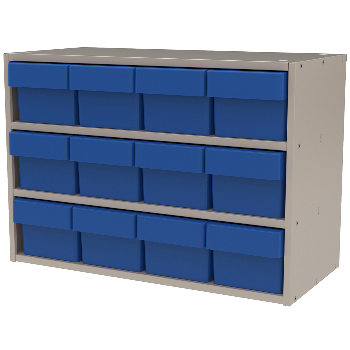 Item DISCONTINUED by Manufacturer.  Modular Cabinet, 23x11x16, 12 Drawers, Putty/Blue (AD2311P62BLU).  This item sold in carton quantities of 1.